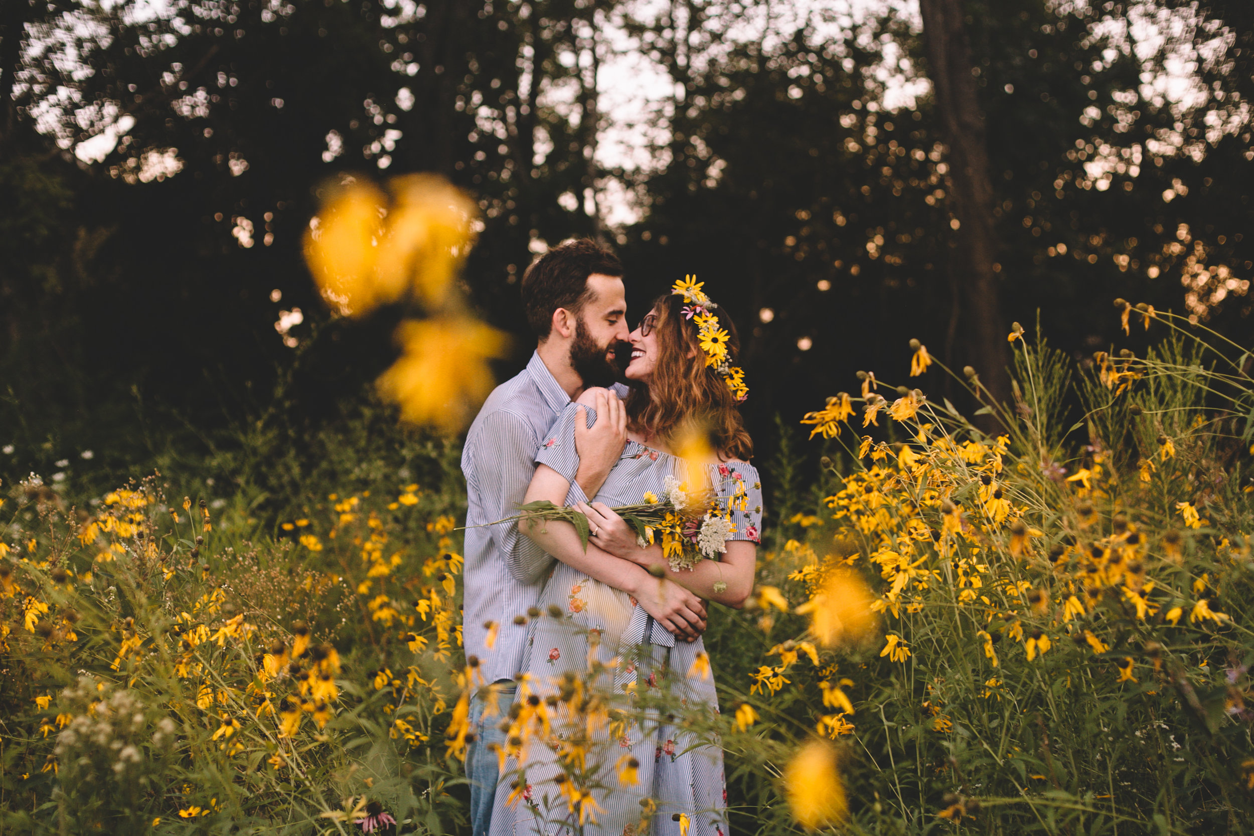 Golden Wildflower Field Engagement Photos Indianapolis, IN Again We Say Rejoice Photography  (45 of 83).jpg
