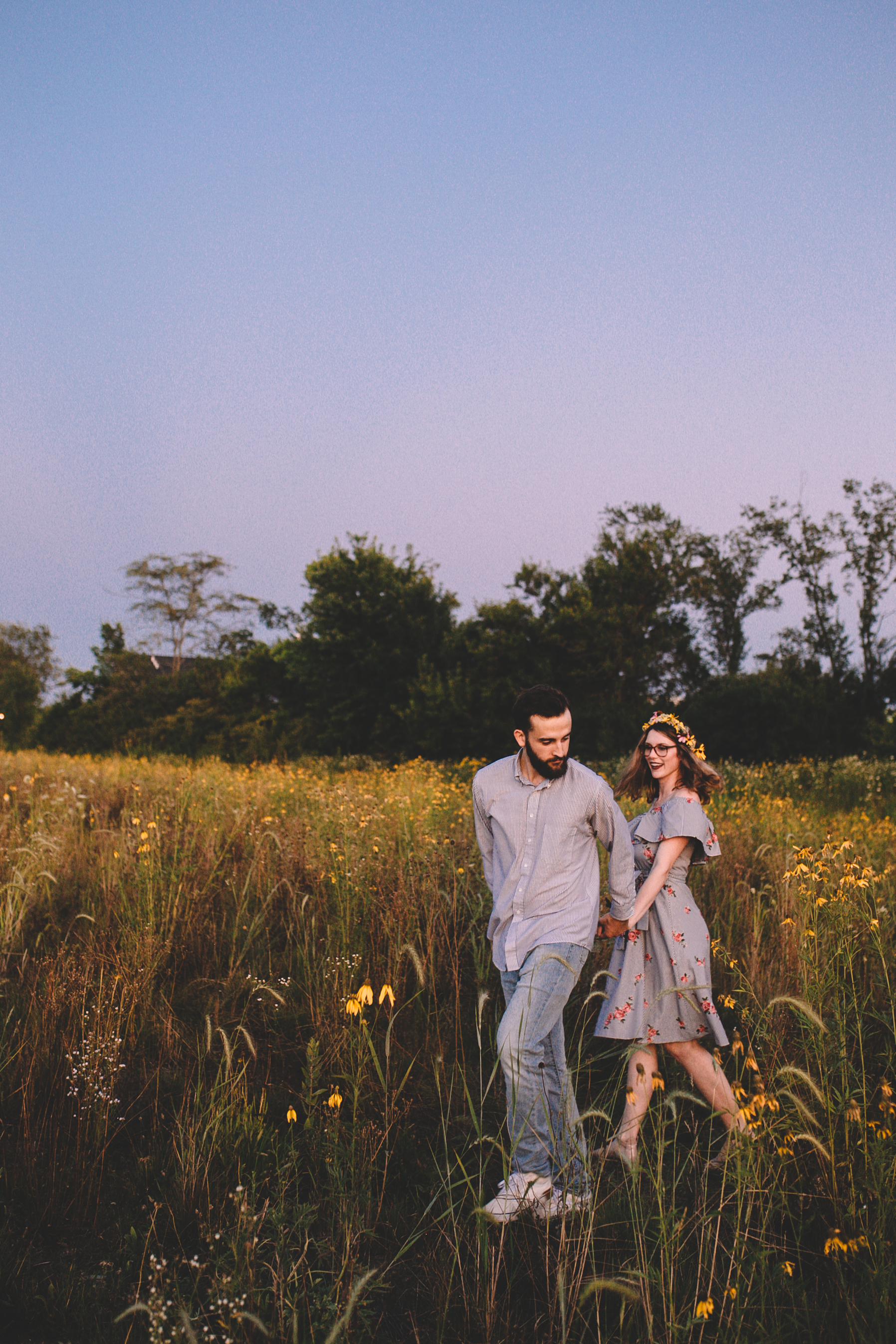 Golden Wildflower Field Engagement Photos Indianapolis, IN Again We Say Rejoice Photography  (56 of 83).jpg