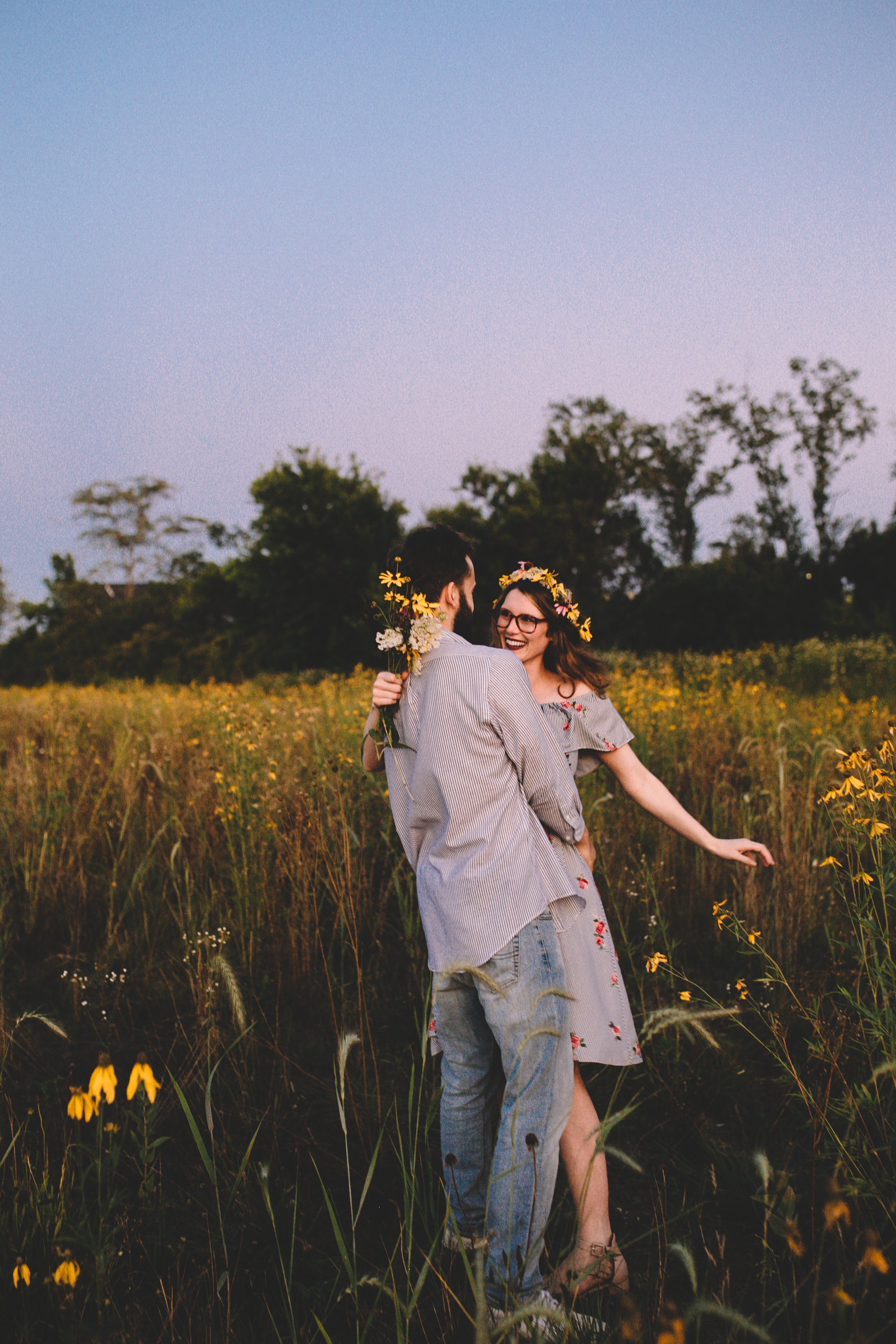 Golden Wildflower Field Engagement Photos Indianapolis, IN Again We Say Rejoice Photography  (58 of 83).jpg