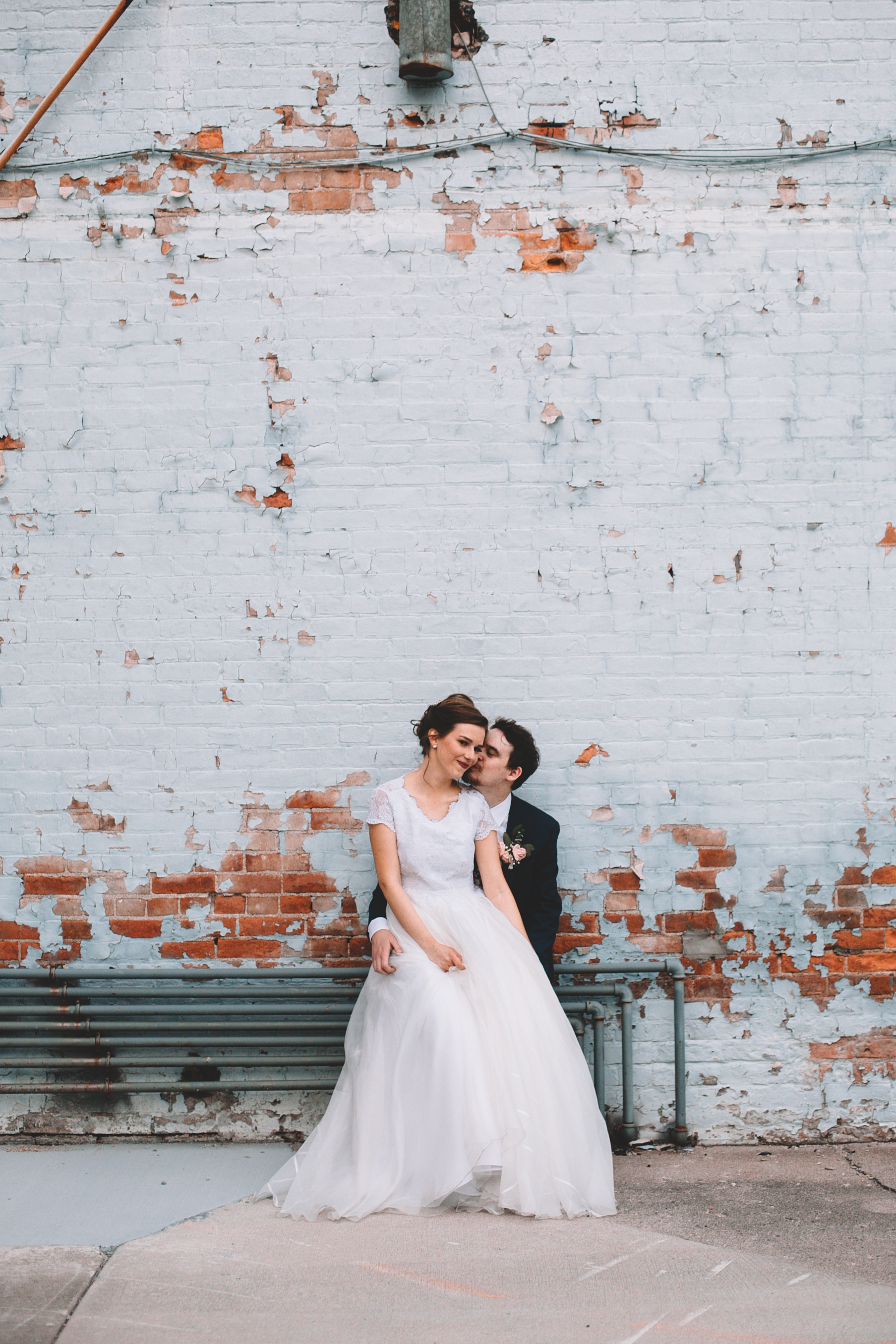 Urban Distressed Brick Wall Bridal Portraits Again We Say Rejoice Photography (2 of 18).jpg