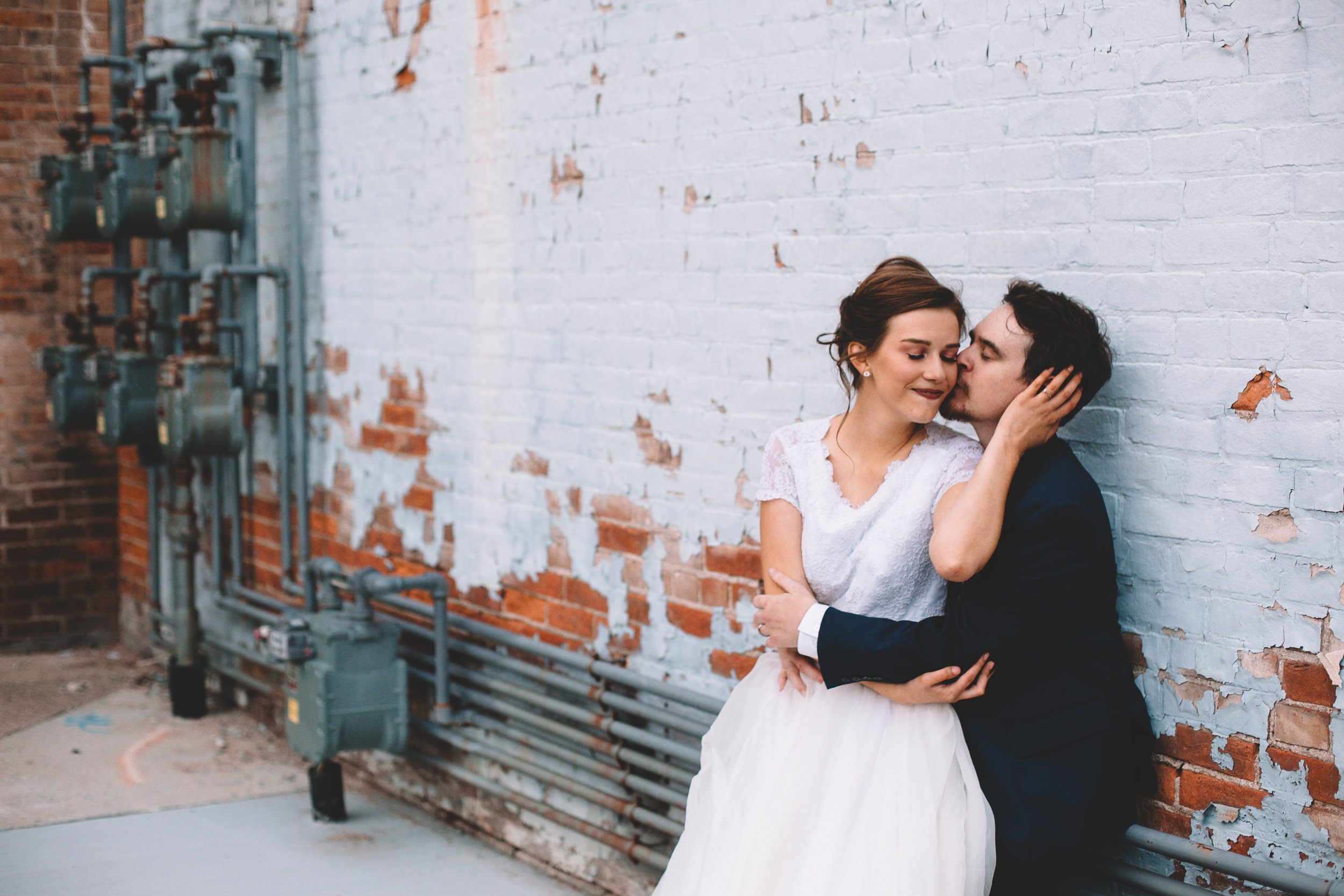 Urban Distressed Brick Wall Bridal Portraits Again We Say Rejoice Photography (4 of 18).jpg