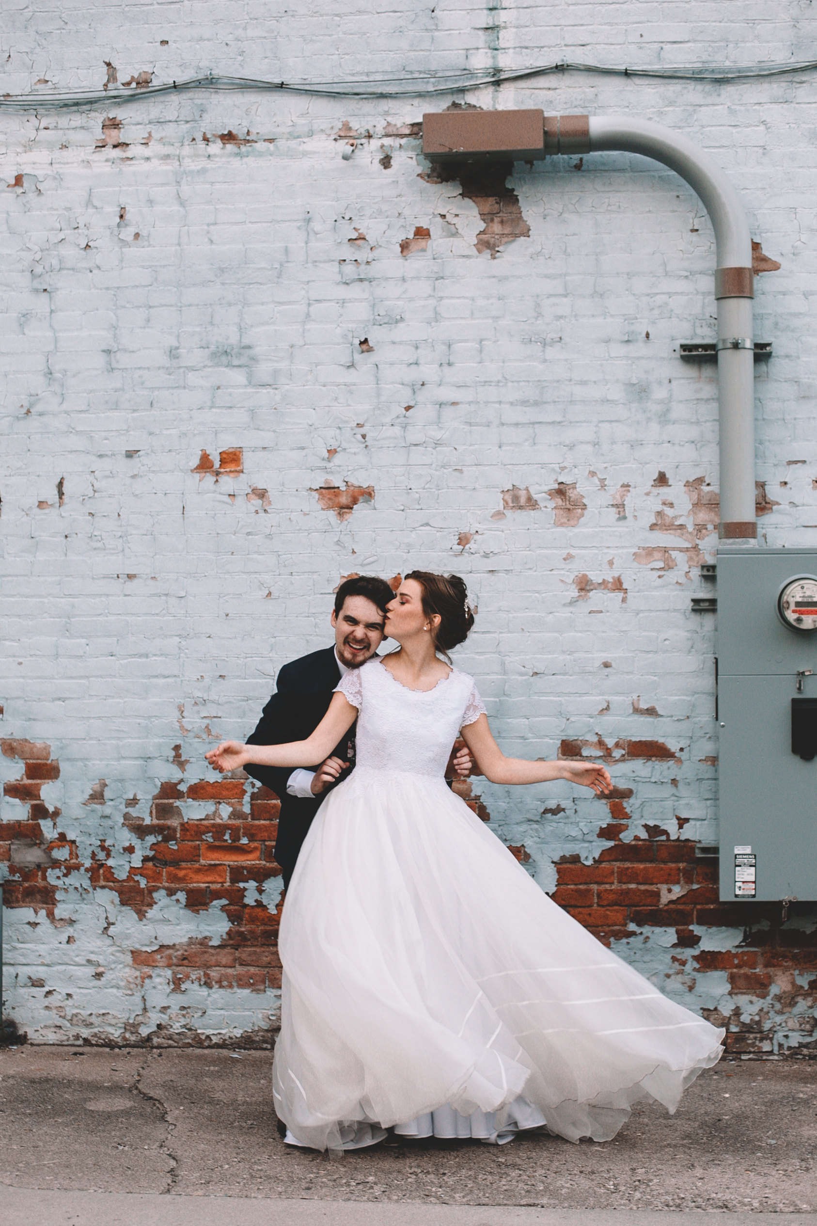 Urban Distressed Brick Wall Bridal Portraits Again We Say Rejoice Photography (9 of 18).jpg
