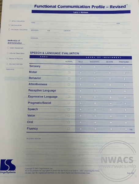 Functional Communication Profile - R