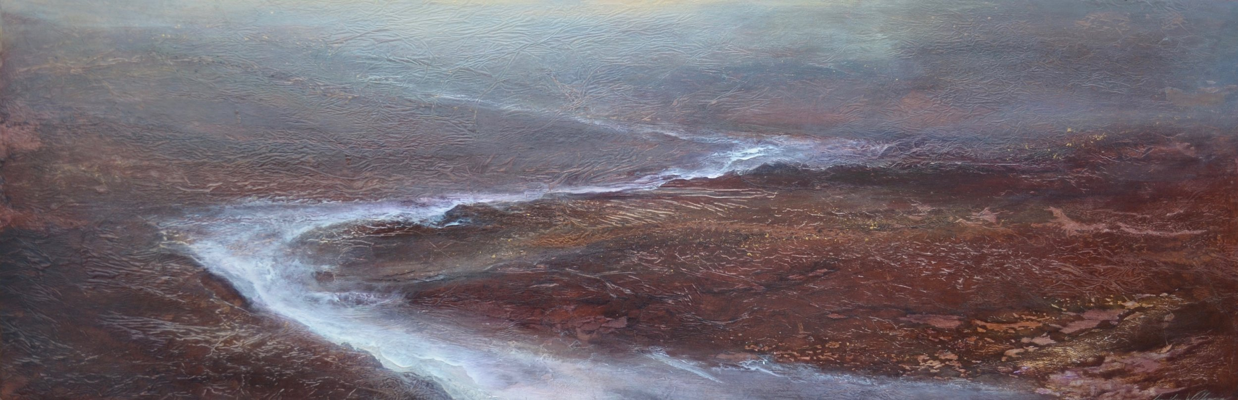 "Impulse , 24""x72"" mixed media on wood ~ SOLD"
