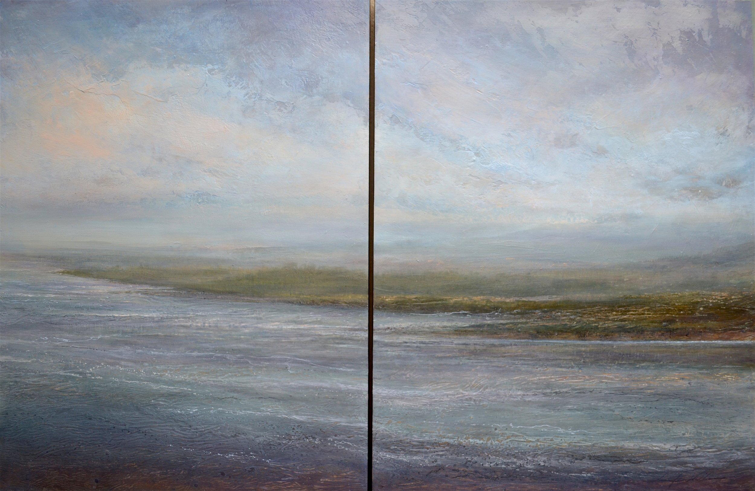 "Aquene , diptych 40""x 60"" mixed media on wood ~ SOLD"