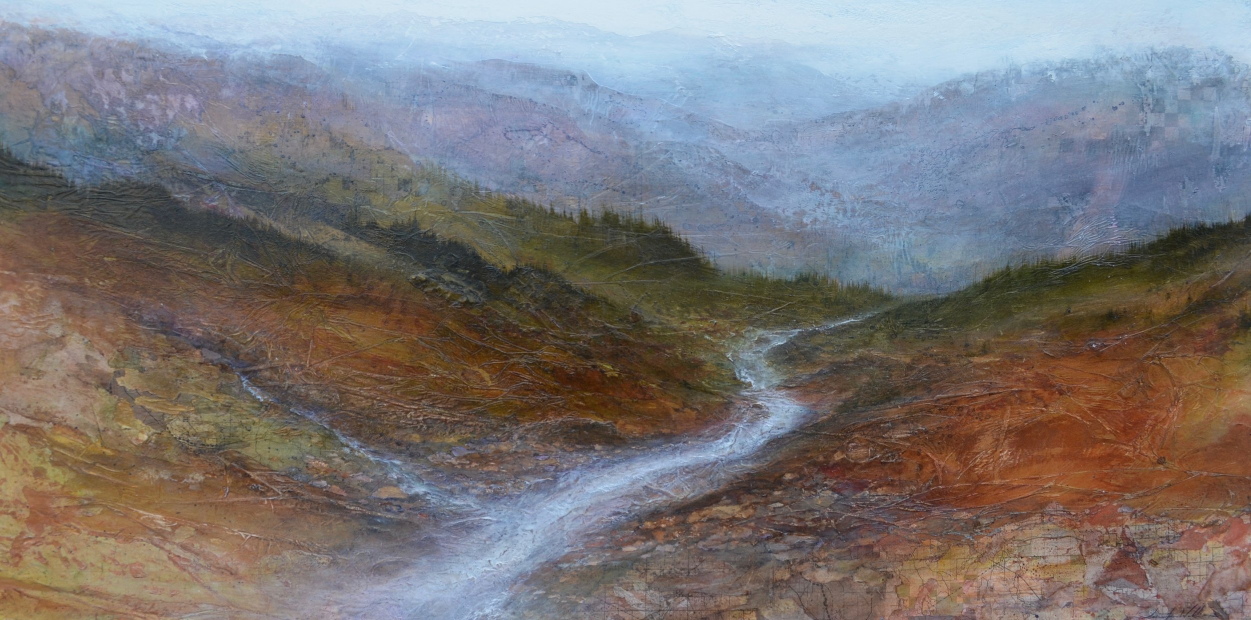 "Mineral Creek , 30"" x 60"", mixed media on wood  ~SOLD"