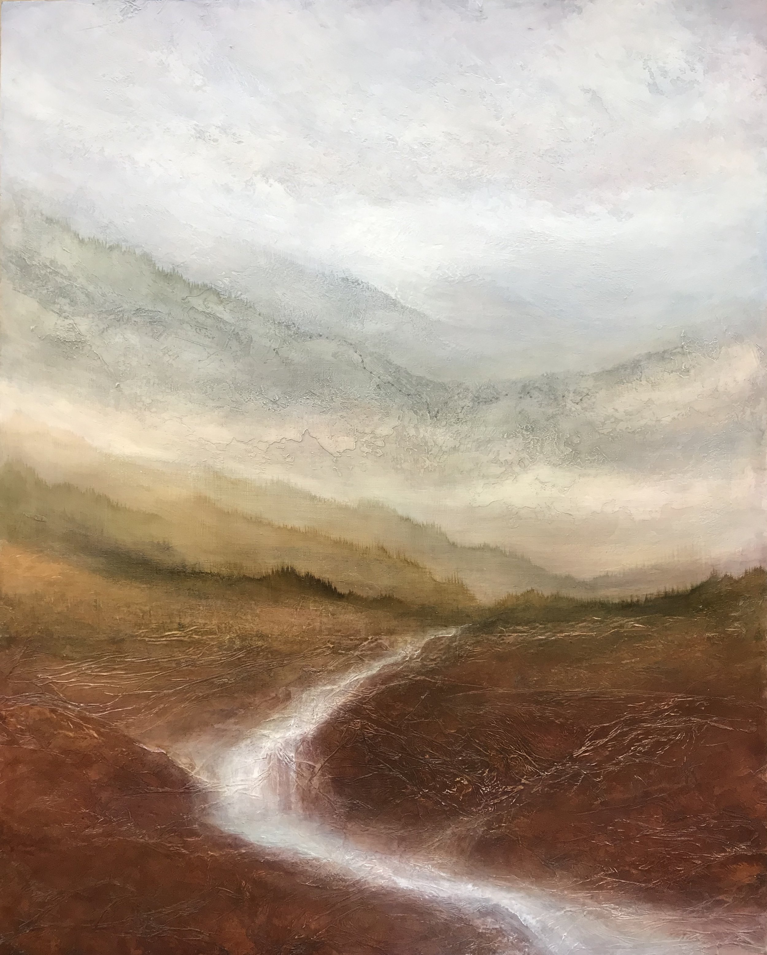 "Geography of Hope  60""x48"" mixed media on wood ~ SOLD"