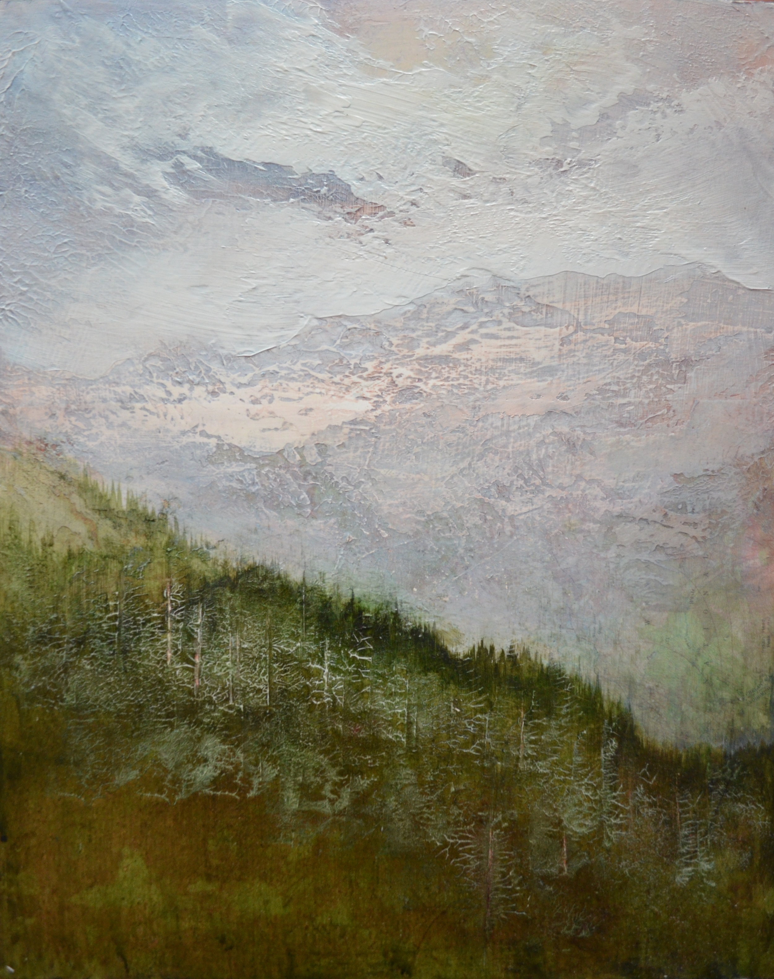 "Higher Ground , 20""x16"" mixed media on wood -SOLD"