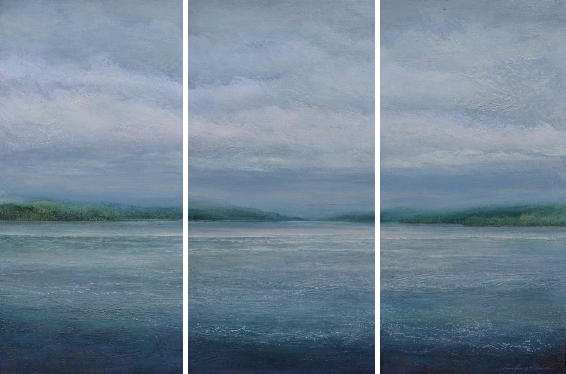 "Columbia Drift, triptych 48""x72"" mixed media-SOLD"