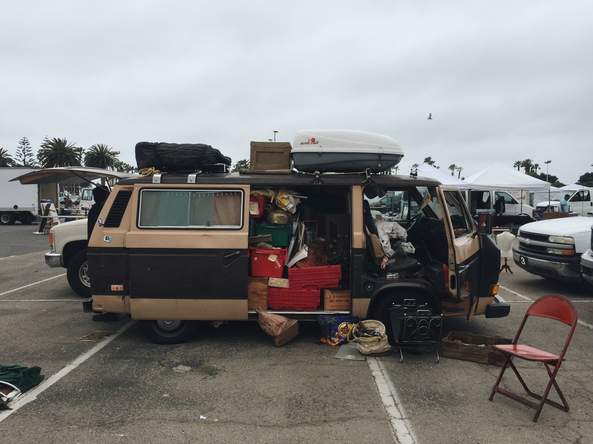 Some serious vanlife spotted at a swap meet in Ventura, California. I came to this flea market looking for a pot in order to cook my chili in for that night. I snagged two for five bucks...