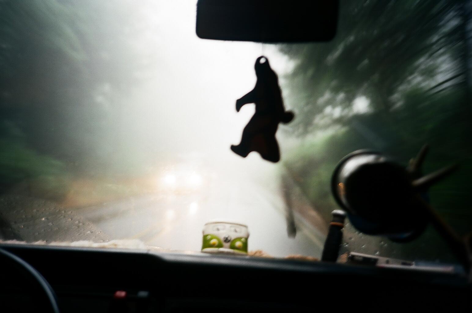 Big Foot spotting. Driving thru rain on the Oregon coast.