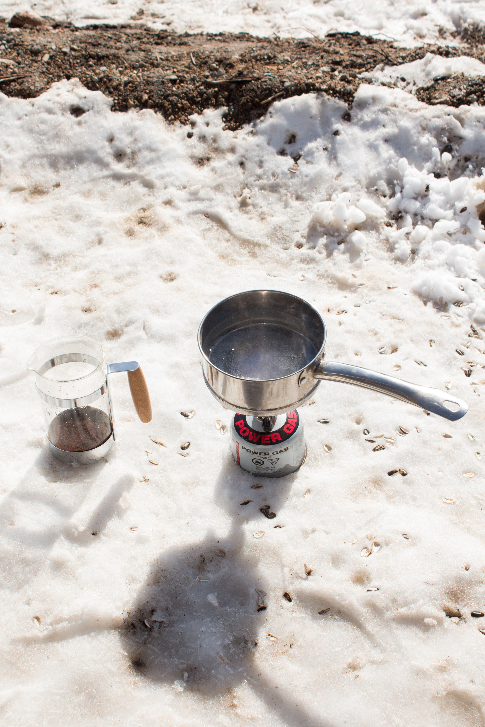 Boiling water for some coffee, #vanlife style.