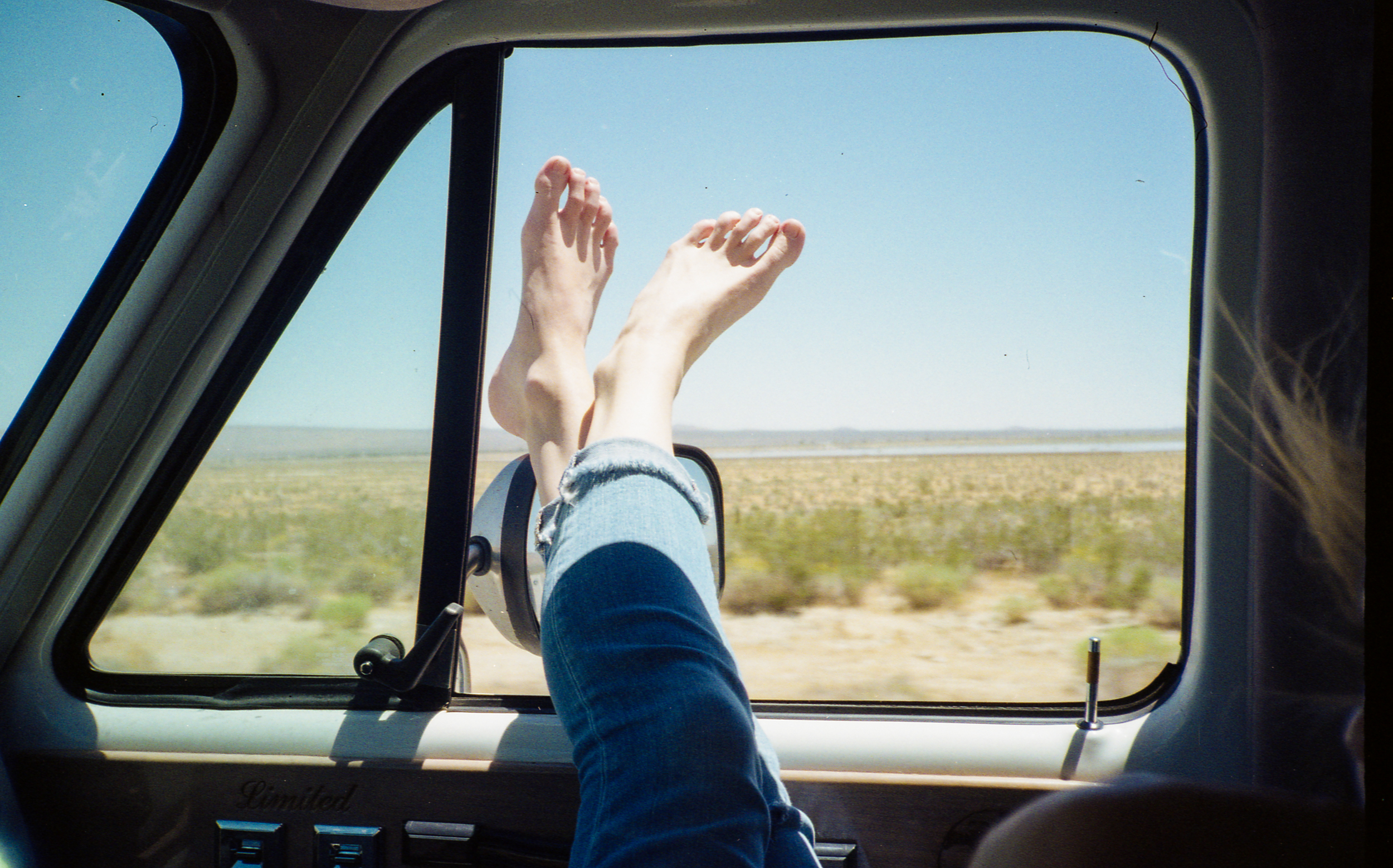 Driving through the mojave in the middle of summer, with no A/C...