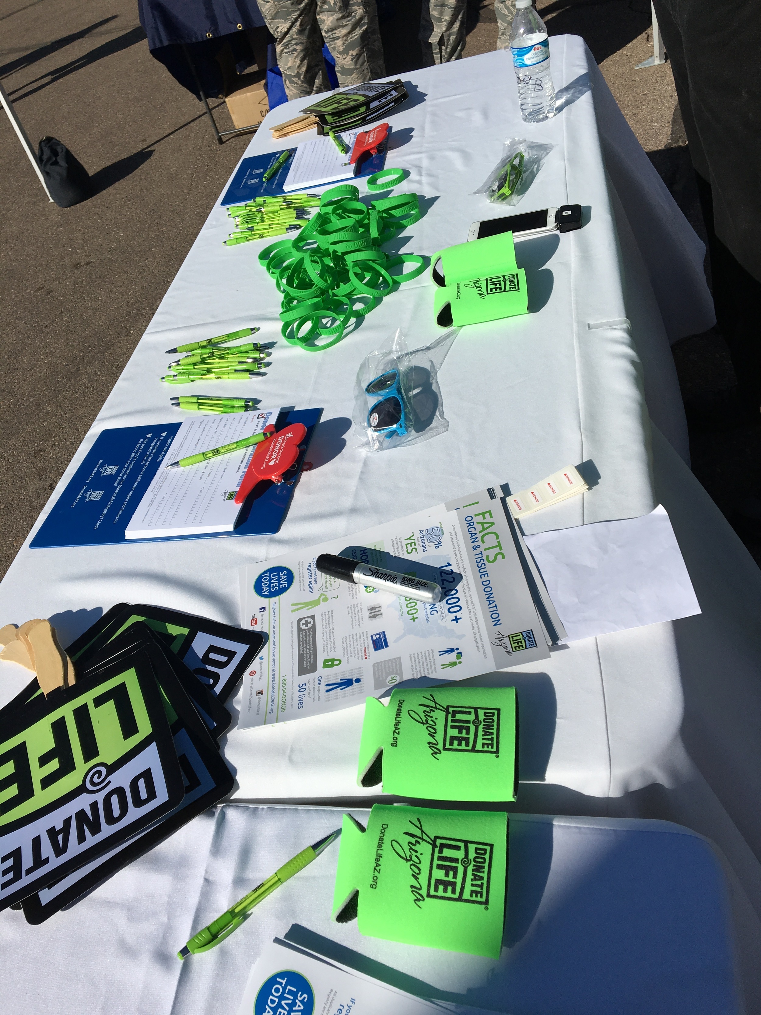 Some of the stuff we gave away at our booth...glasses were the favorite today!