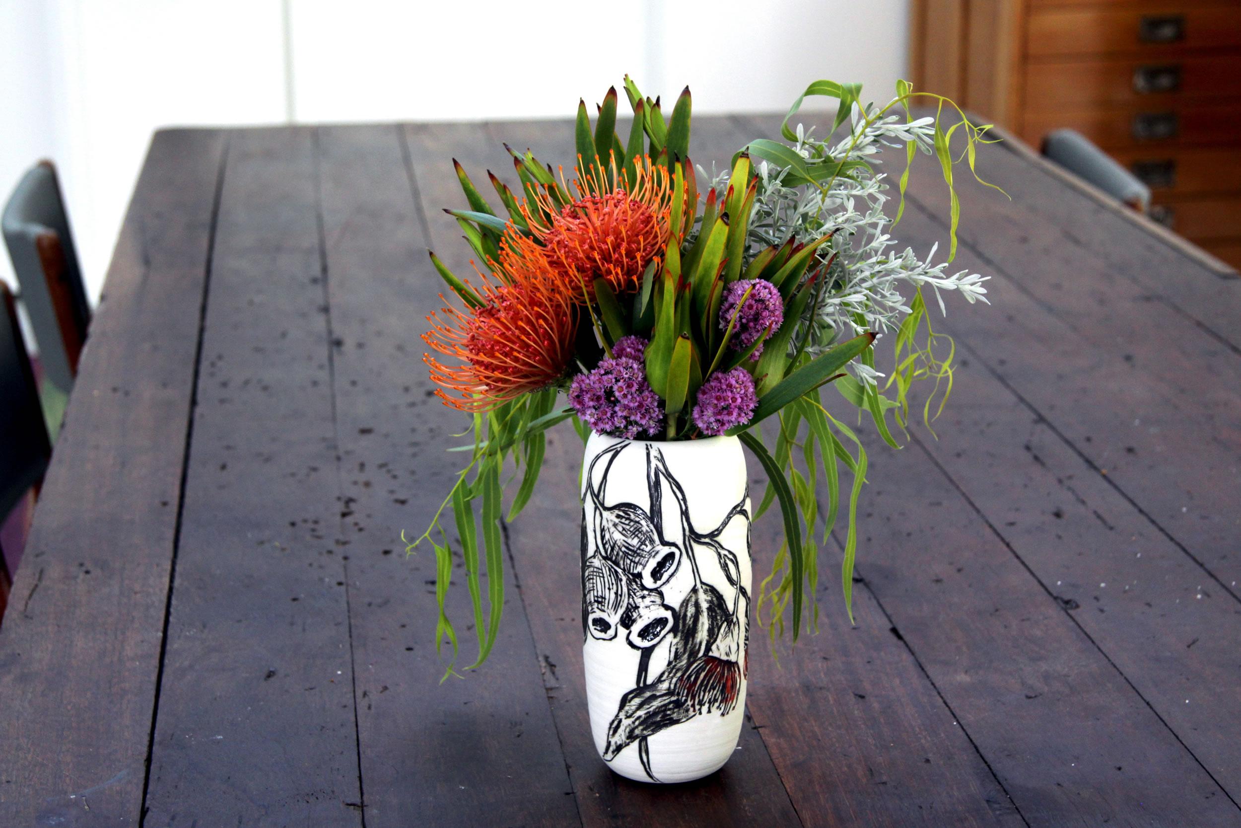 Native Porcelain Botanical Vase- Eucalyptus