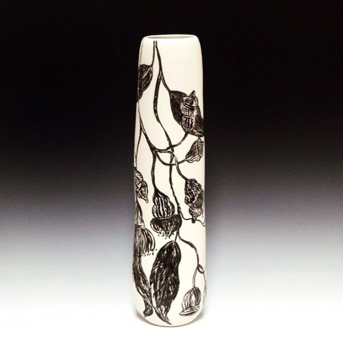 Tall Native Botanical Vase featuring Eucalyptus blossoms
