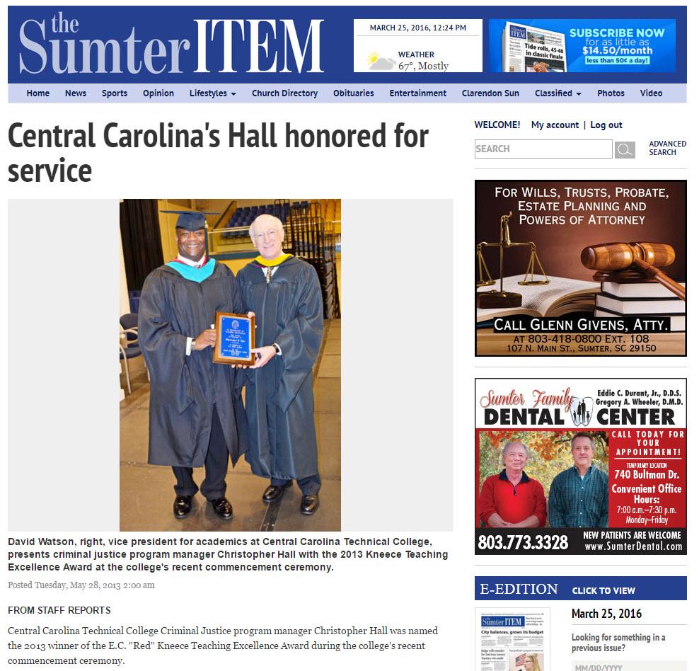 Hall_honored_for_service_chrisjhallsc.com