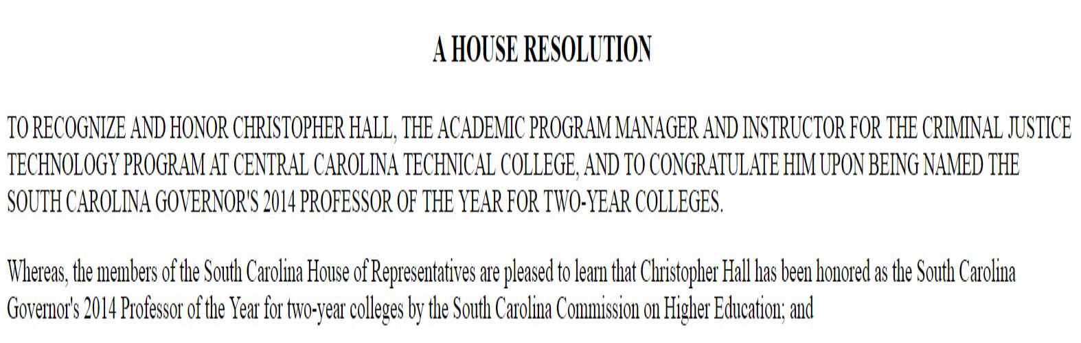2013-2014 Bill 5209: Christopher Hall
