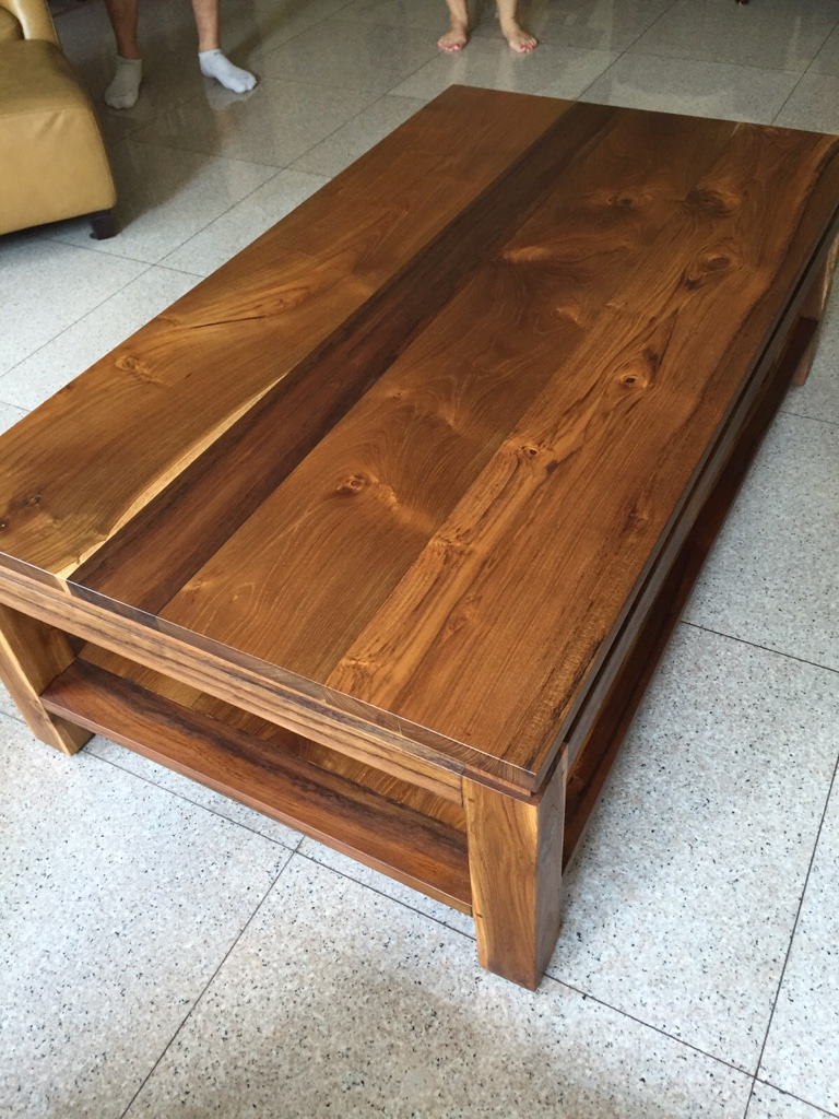 AFTER: Teak coffee table finished with clear OSMO wood oil.