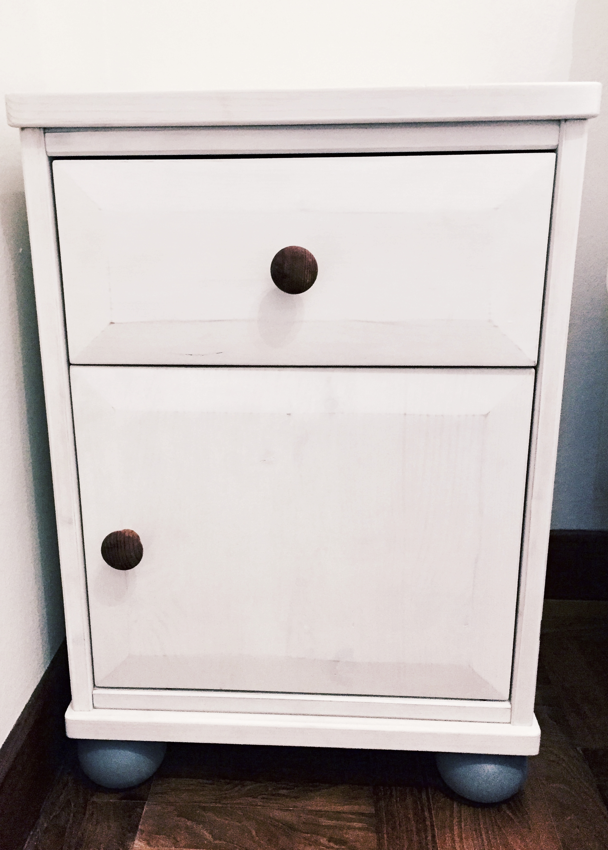A shabby chic look in white wash milk paint.
