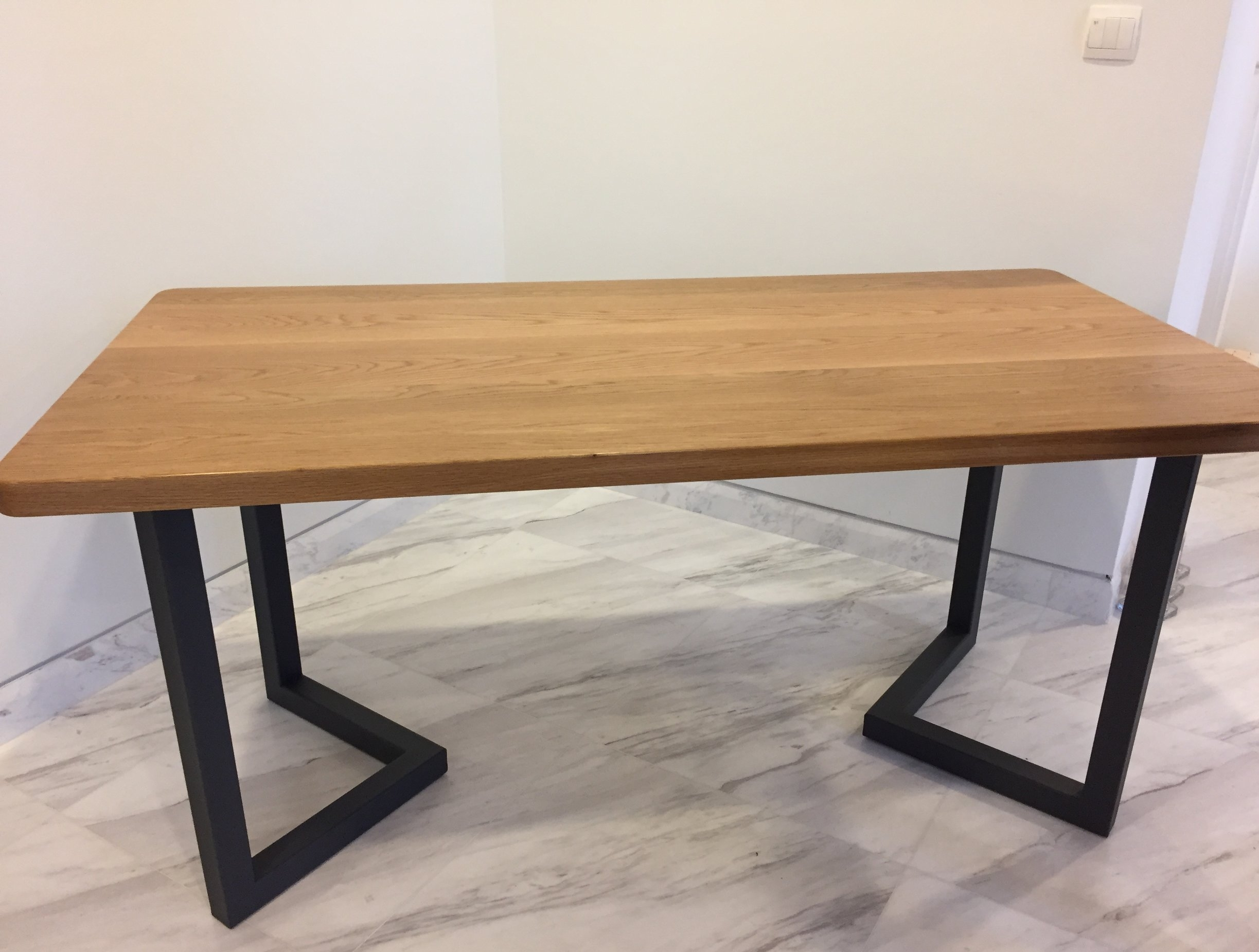 A solid oak table that is built to last.