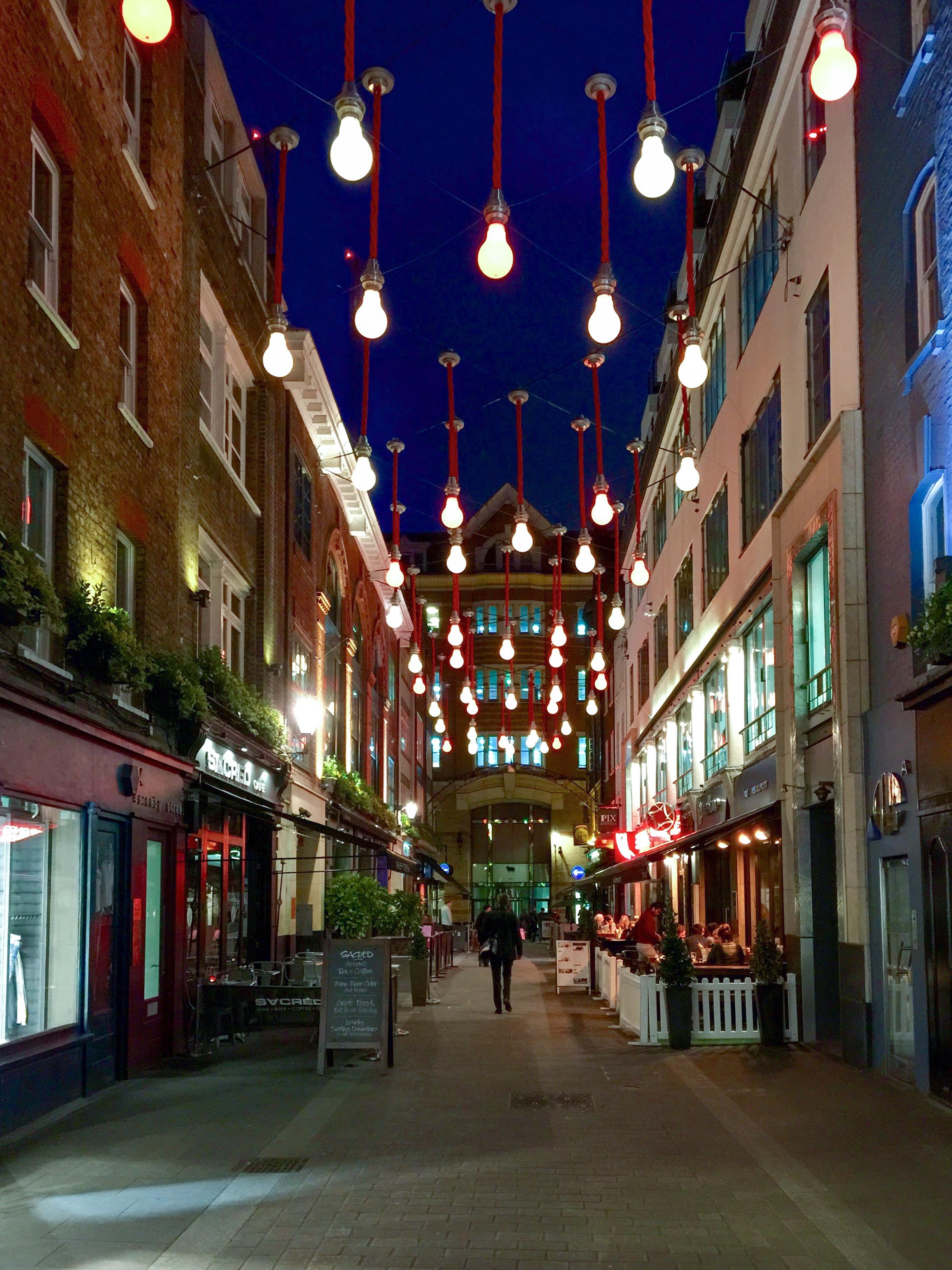 Side street near Carnaby Street proper in London.