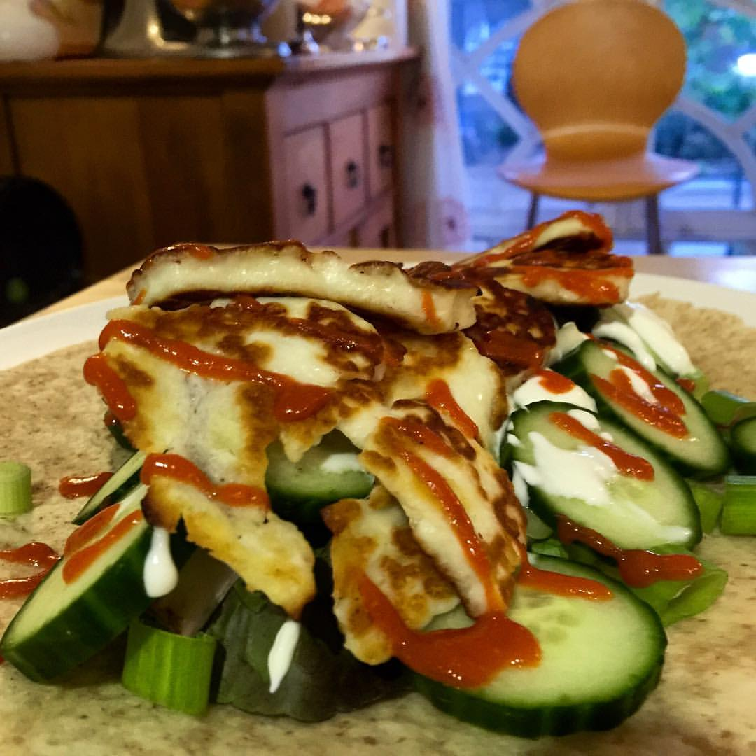 While I have the opportunity to slow things down a bit, I'm taking the opportunity to teach myself to be a better cook. I love to barbecue, but have always had a somewhat irrational fear of the kitchen. Here's my first attempt at making something new in the UK!                                          Dirty Halloumi Kebab 😋 #learningtocook #neverstoplearning #challengeyourself #foodstagram #thedreamersinesin (at London, United Kingdom)