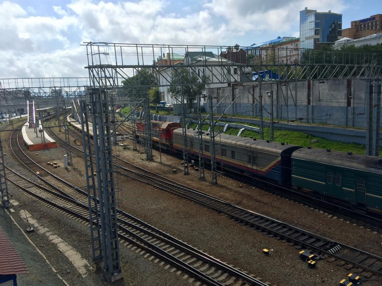 Vladivostok, Russia    Trains arriving into the Vladivostok railway terminal.