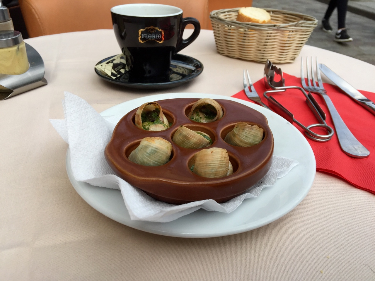 Escargot: The self imposed foreigner's right of passage in Paris. Quite tasty.