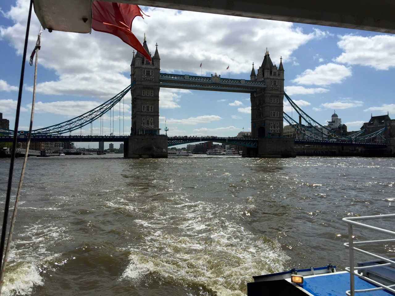 Tower Bridge from the Thames Clipper Ferry - London, United Kingdom    Shooting photographs while on a boat is a skill that I have a long way to go to master. Beautiful ride, and we got to pass directly below the bridge too!