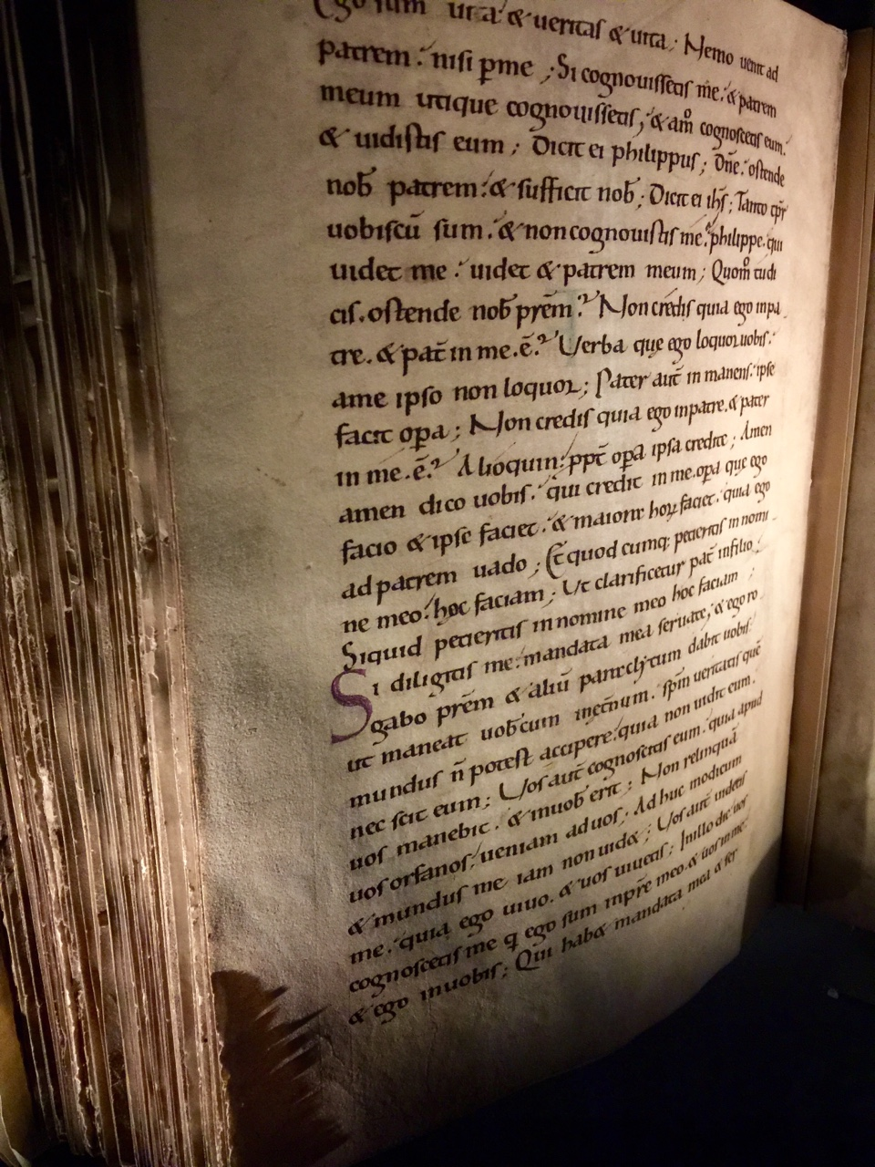 Excerpt from the York Gospels. This book is one of the oldest surviving texts in Yorkminster (the largest Gothic Cathedral in Northern Europe) and is over a thousand years old.
