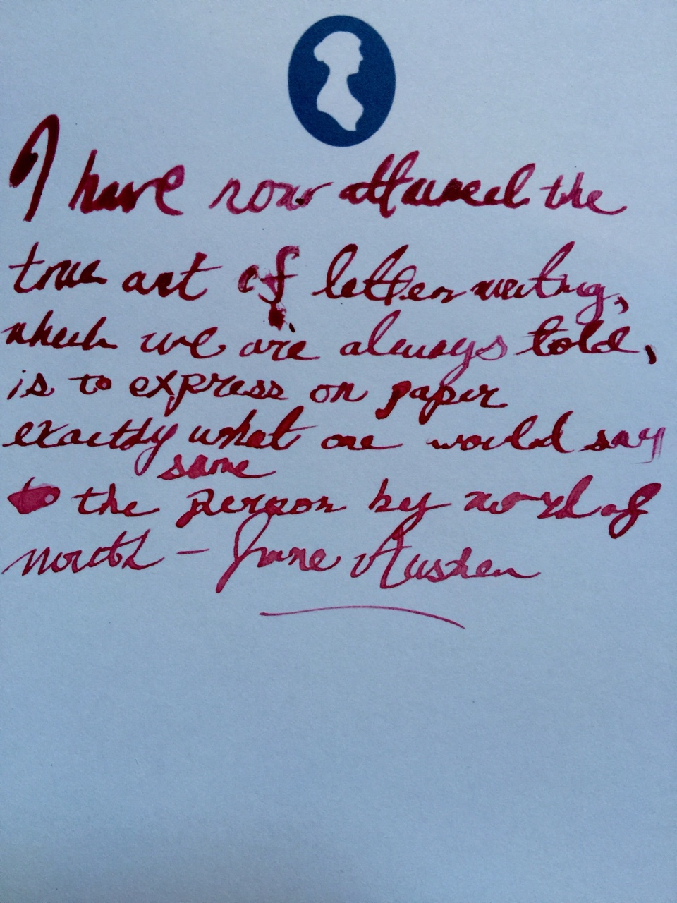"""If I were to be so lucky to be able to achieve this in my lifetime, I could die a happy man. I miss writing letters.    This was my first time trying to write with a quill. They had a really cool replica writing desk at the Jane Austen Centre where you could practice, which was a *little* more conducive to my interests than trying on period appropriate dresses (their other interactive exhibit).    Full quote:    """"I have now attained the true art of letter writing, which we are always told, is to express on paper exactly what one would say to the same person by word of mouth."""" - Jane Austen"""