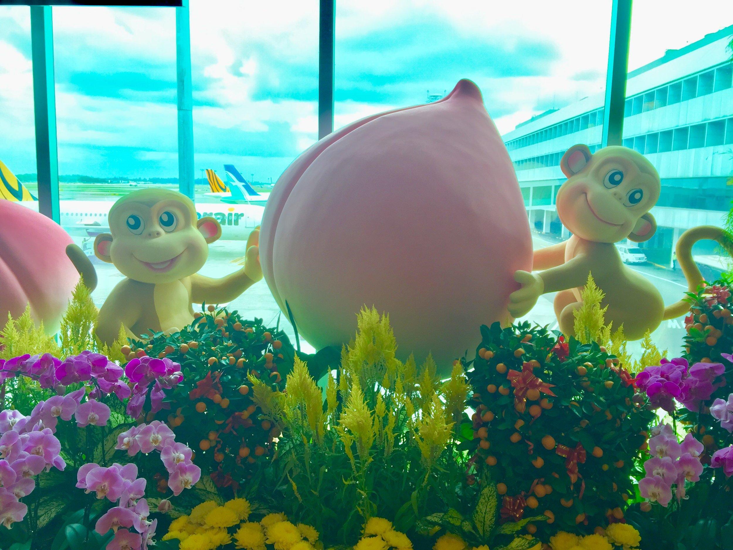 Celebrating the year of the monkey at Changi International Airport!