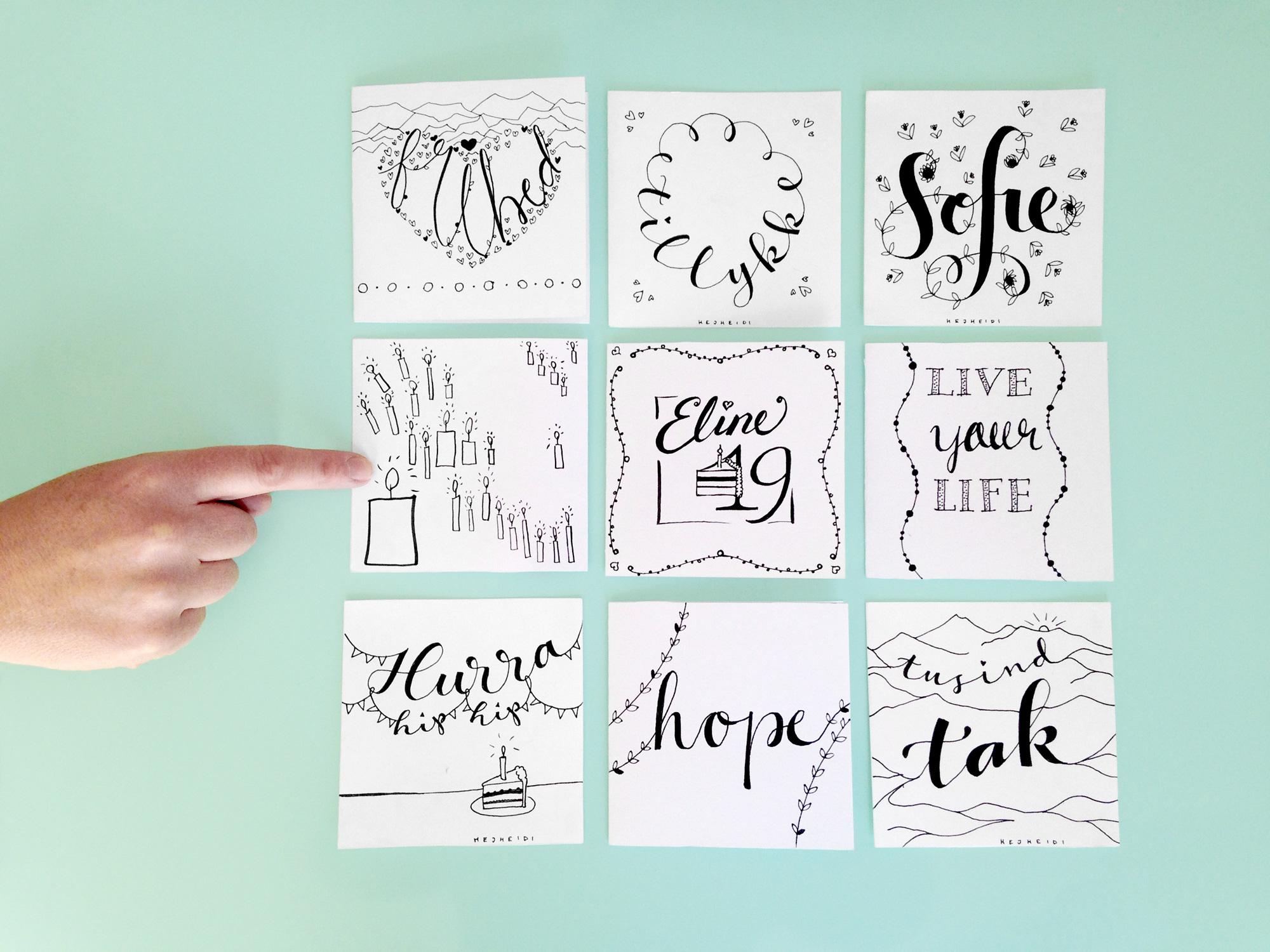 Jeg har lavet 4 af kortene (tillykke, Sofie, Hurra hip hip og tusind tak), resten af lavet af engagerede workshopdeltagere.