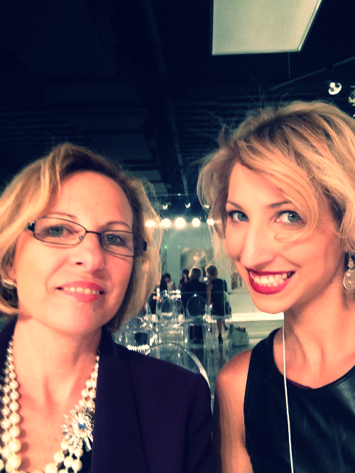 Debbie and Beth in the Mori Lee showroom during Fashion Week.