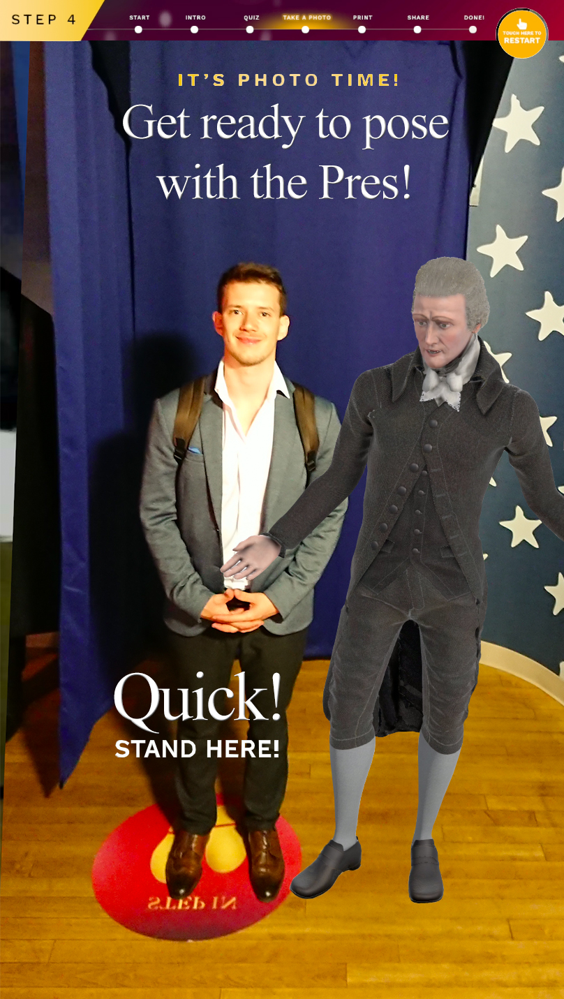 5th step:  After Hamilton presents the final score users can take a digital picture with him