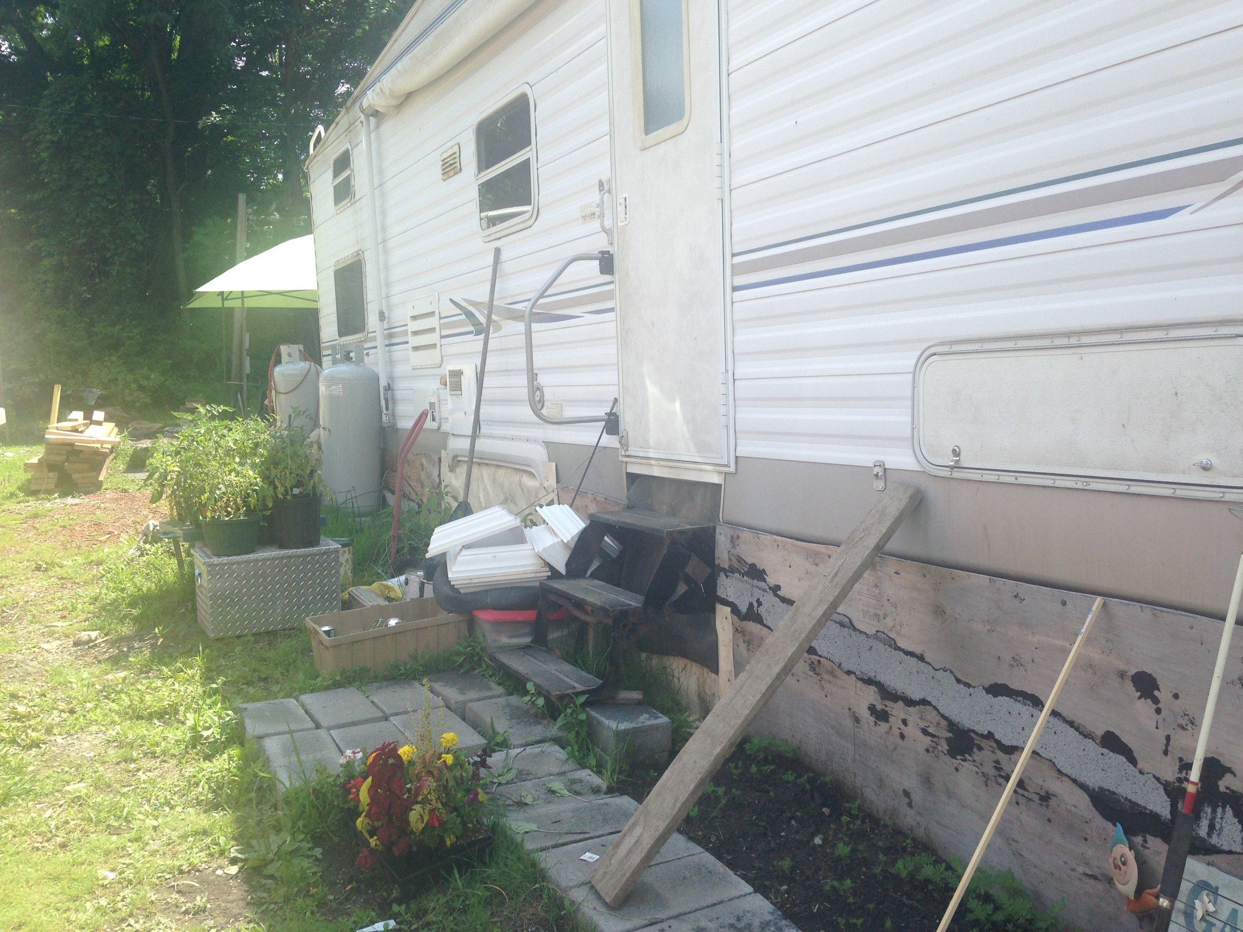 1. Everson Camper Entrance Side looking toward burned out homesite.JPG