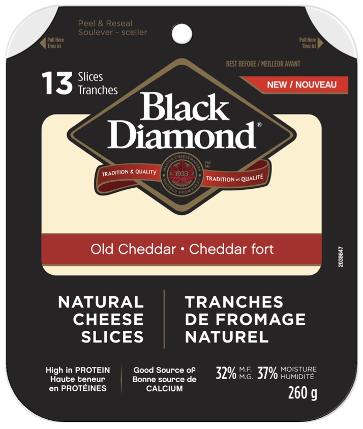 Black Diamond Natural Cheese Slices - Old Cheddar