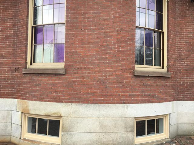 Installed - at Kings Chapel Parish House - Beacon St, Boston - 1820's structure - anybody know the story of that purple glass?! #woodworking #windowrestoration #windowsofinstagram #boston #finewoodworking #millwork #architecture #beaconhill #oldbuilding