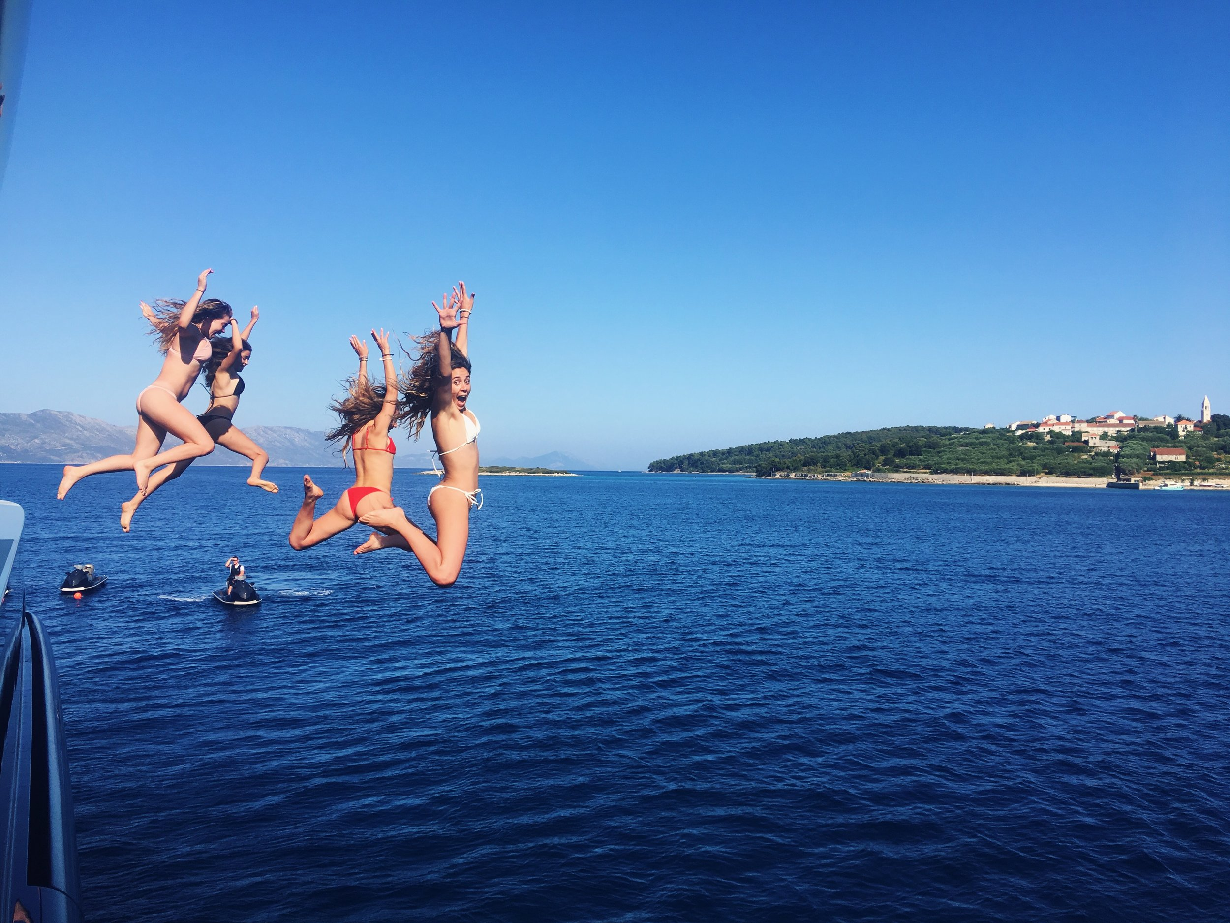 Jumping off the boat is one of my favorite excursions.