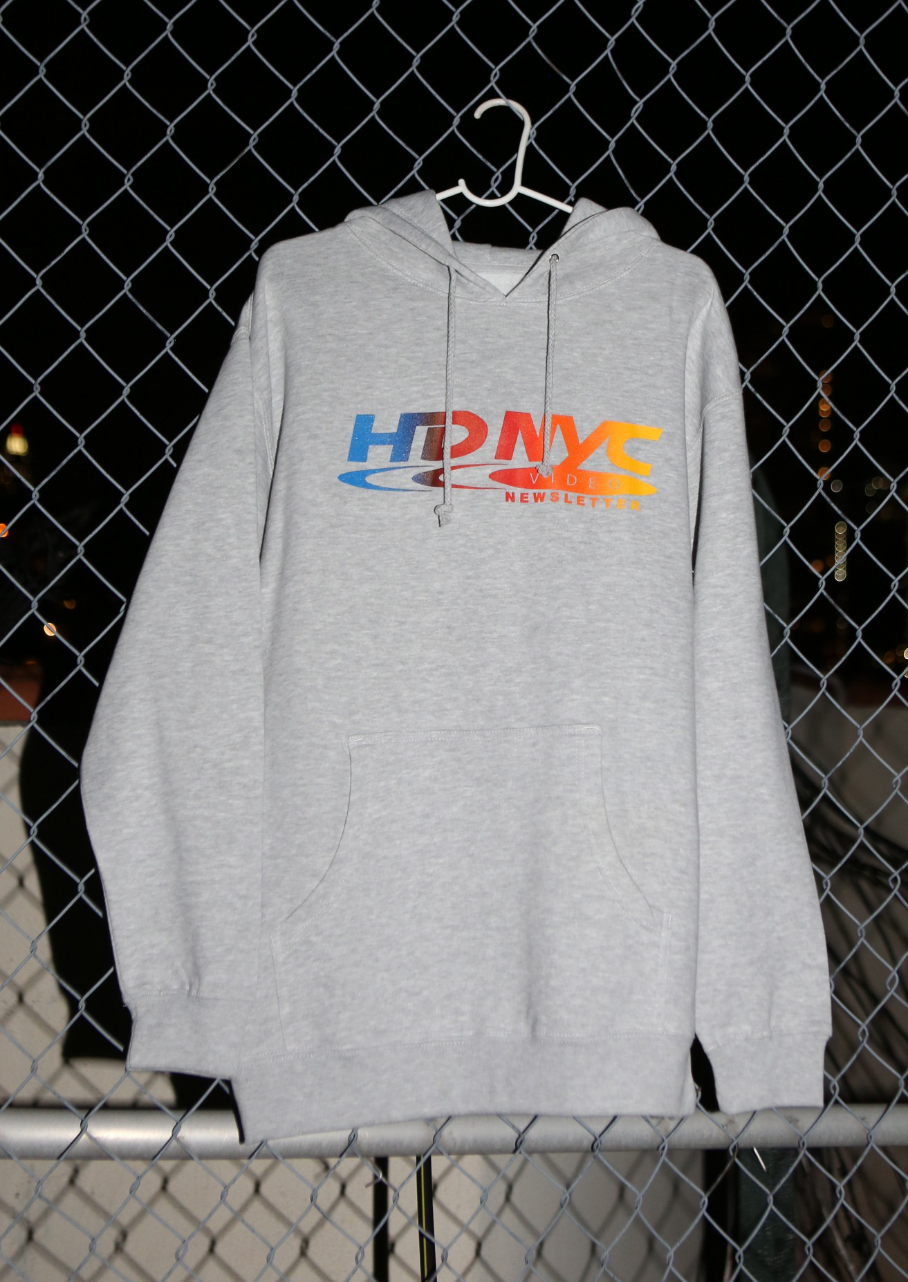 hd nyc video newsletter gray hoodie