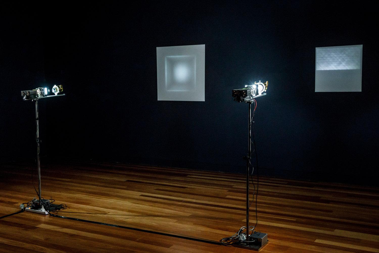 Object-Image  (2017-2019), glass, steel, aluminium, 3D printed PLA, LED.