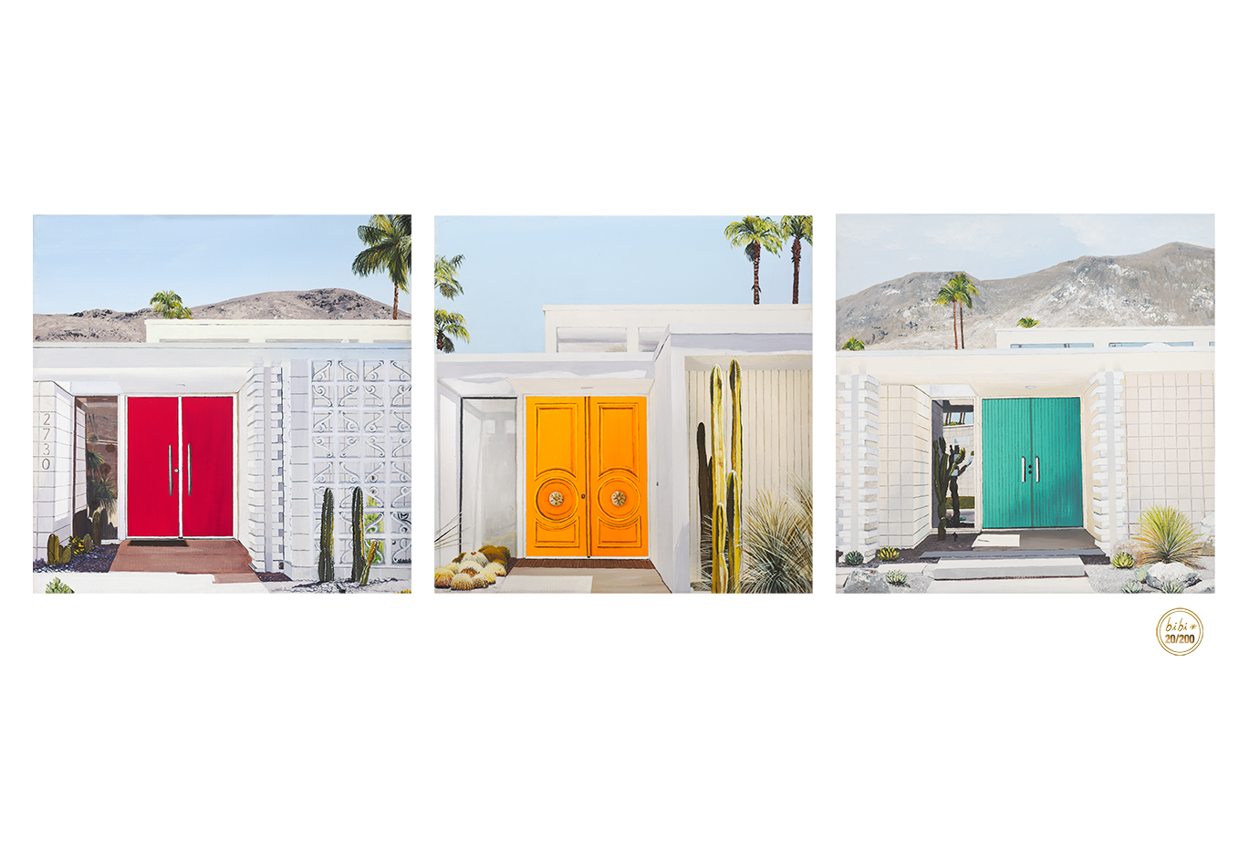 - three doors down to palm springs$150.00This is a Limited edition Giclée of 200 hand signed by the artist, printed on archival acid-free paper 19