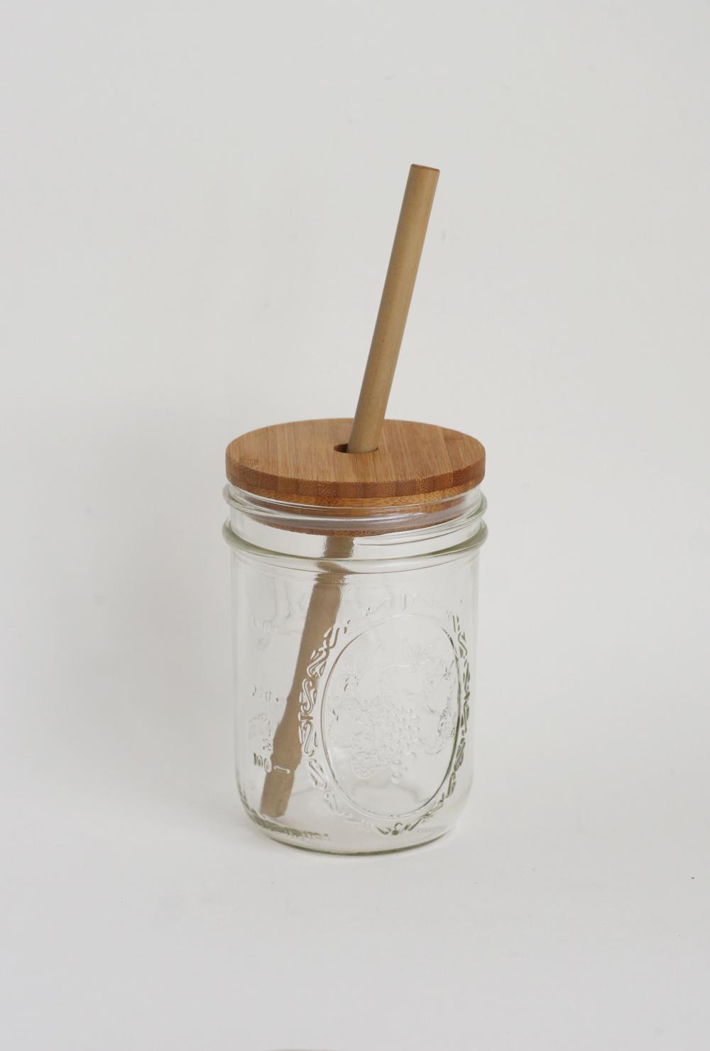 Mason Jar Bamboo Lid and Straw $20
