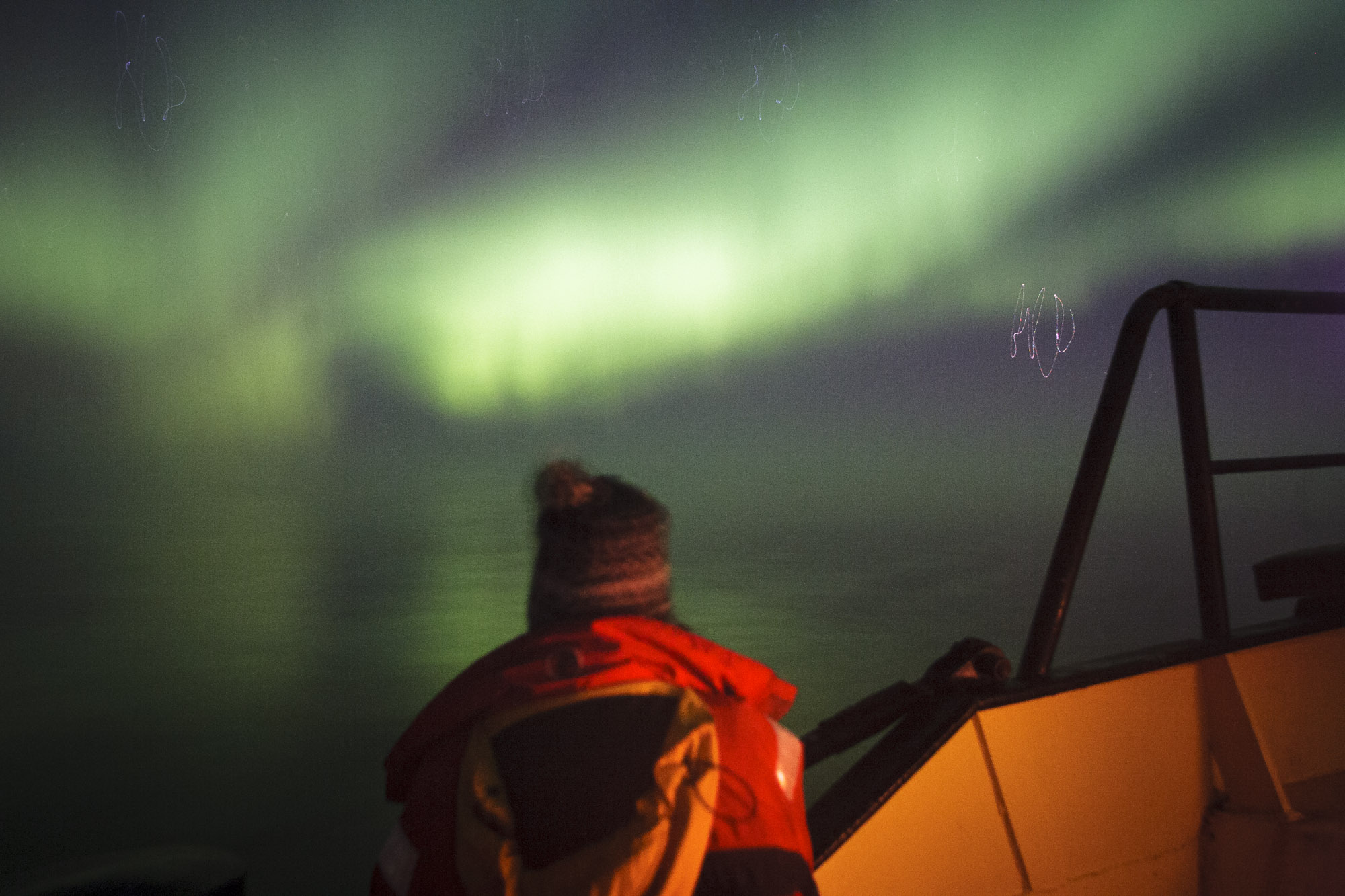 The northern lights viewed from the deck of the Noorderlicht
