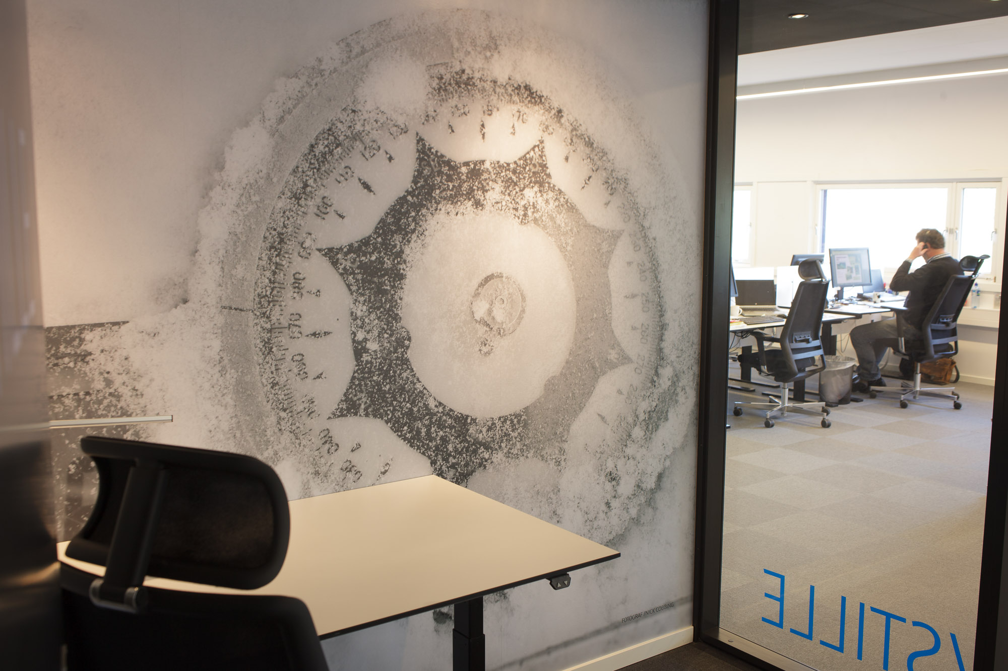 A wall sized photograph by Nick Cobbing in the corporate HQ of Canon Norway