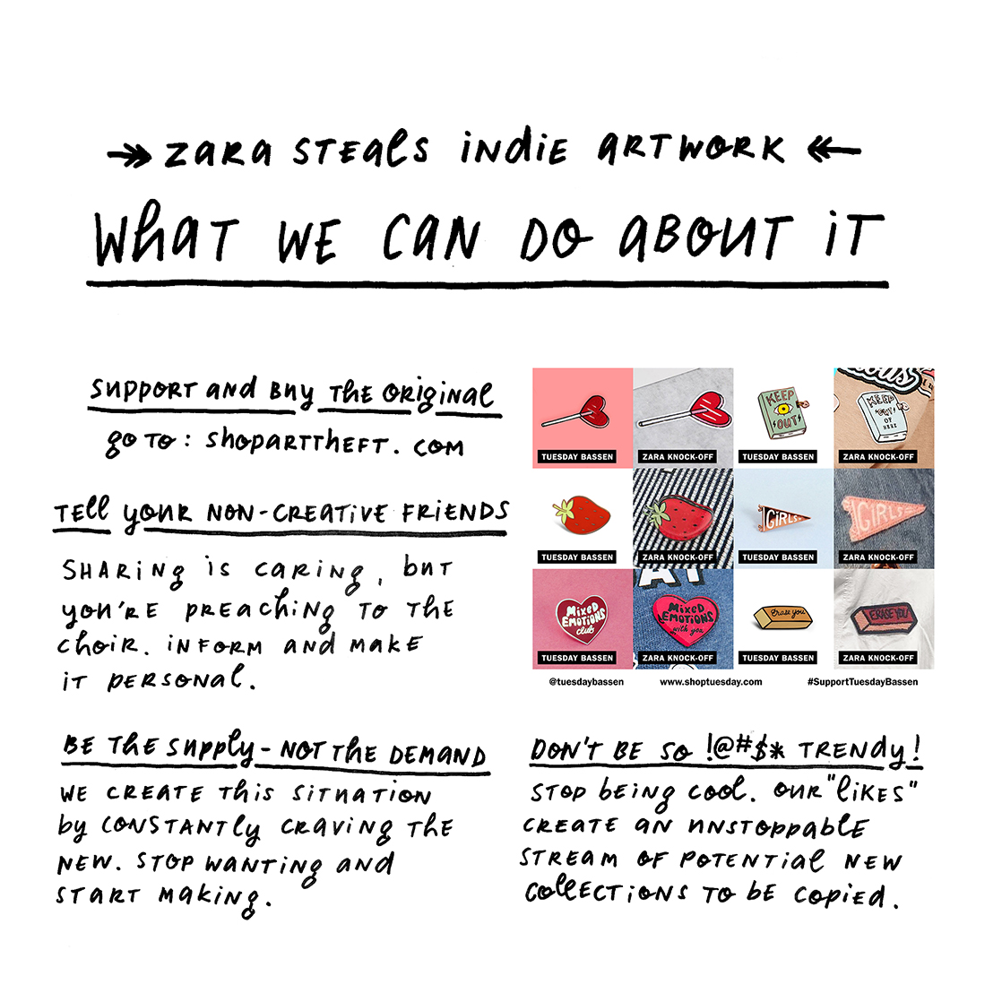 Tuesday Bassen vs Zara - indie artwork stolen - what we can do - Paper Marche Studio - Janneke de Jong