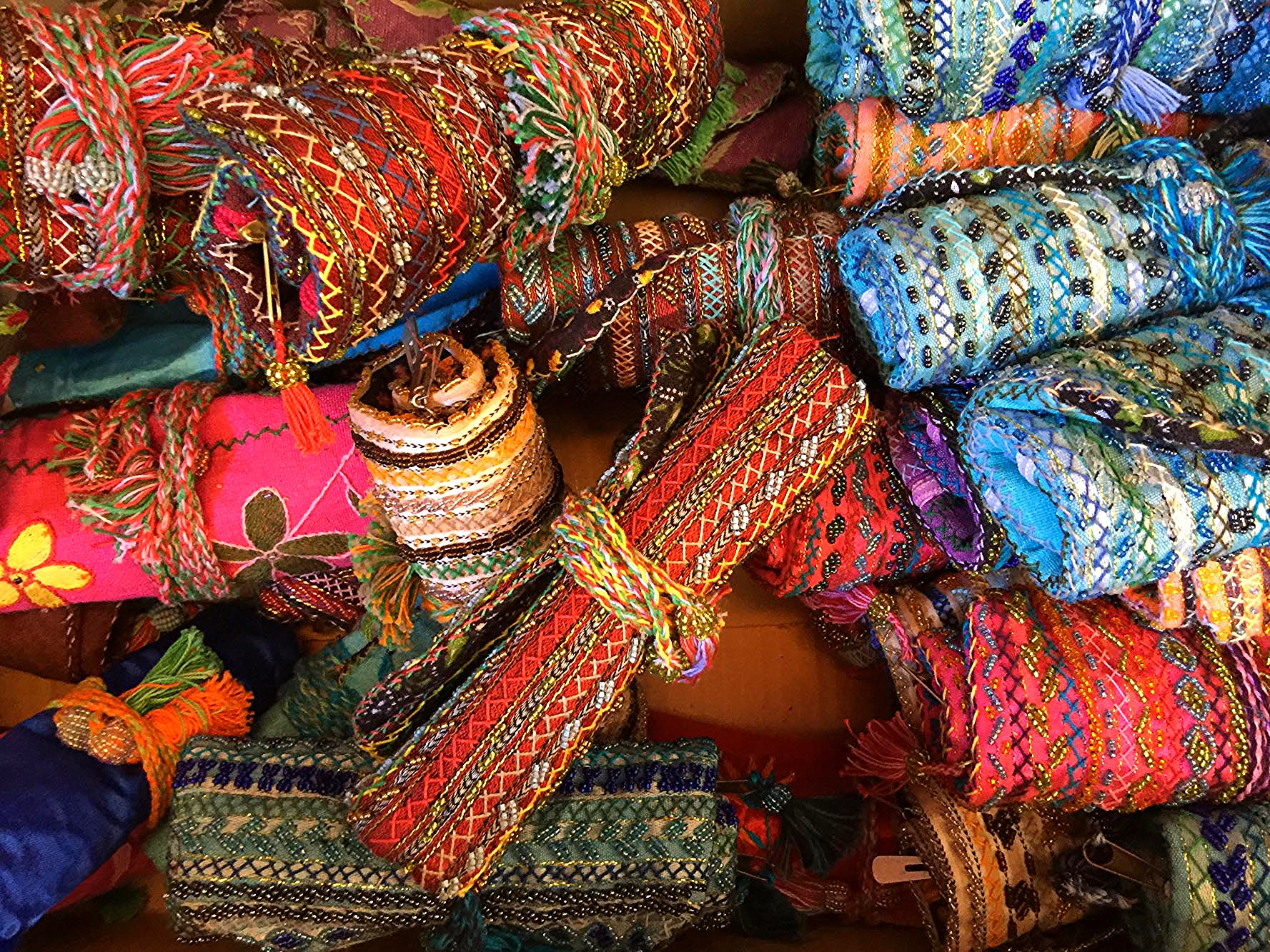 Bedouin embroidered and beaded jewellery rolls