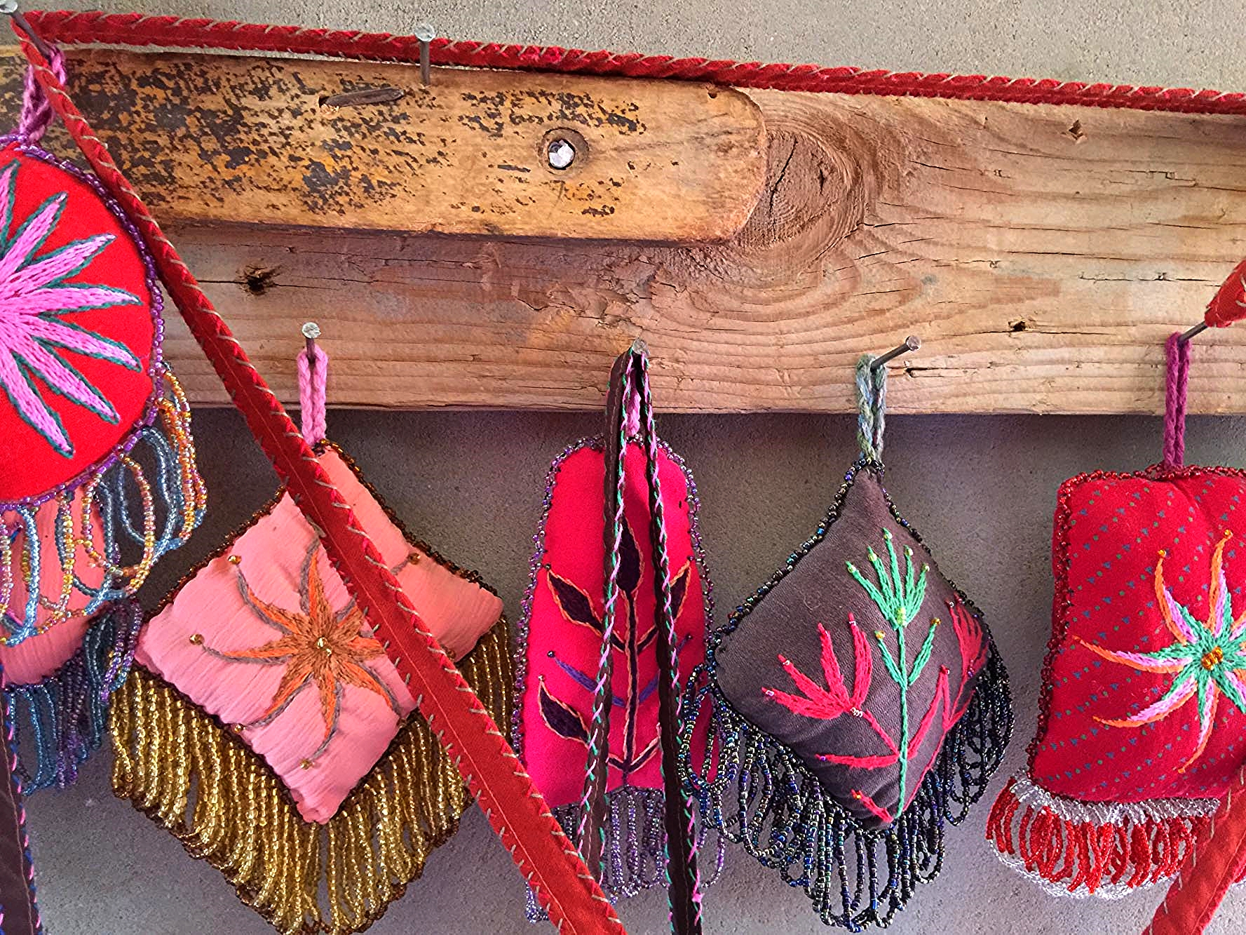 Bedouin beaded and embroidered pin cushions