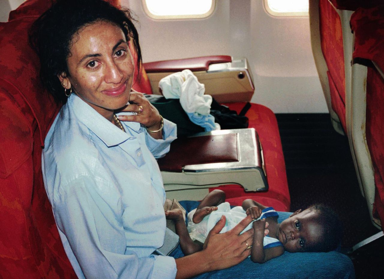 Sheikha Ali, an operations officer for the International Organization for Migration, on the flight out of the Congo.   (Courtesy)